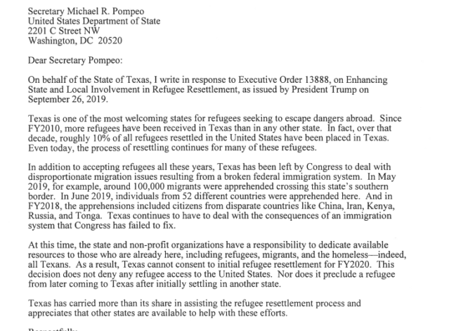 Greg Abbott Letter to Mike Pompeo
