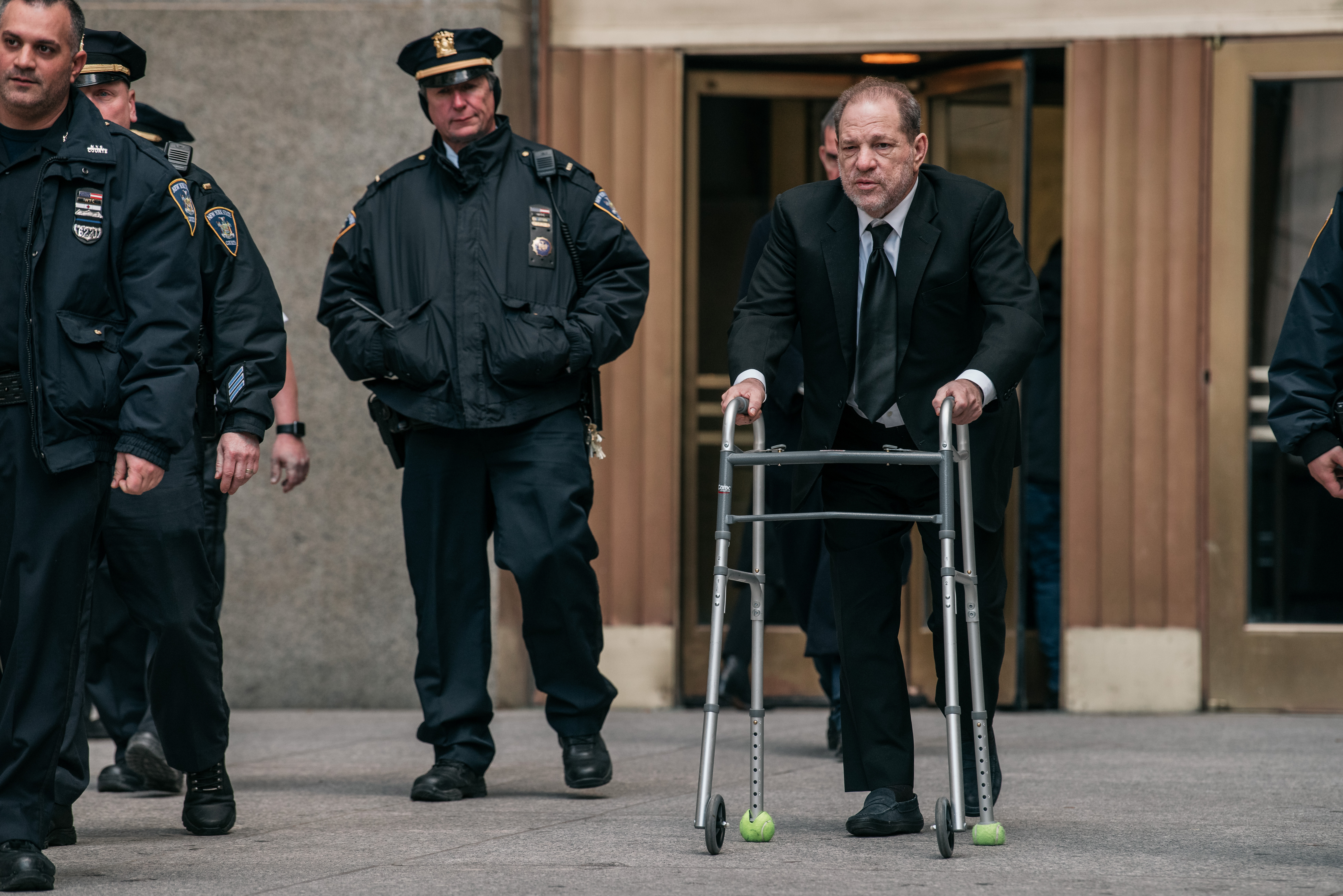 Harvey Weinstein leaves New York City Criminal Court on January 16, 2020 in New York City. Weinstein, a movie producer whose alleged sexual misconduct helped spark the #MeToo movement, pleaded not-guilty on five counts of rape and sexual assault against two unnamed women and faces a possible life sentence in prison. (Photo by Scott Heins/Getty Images)