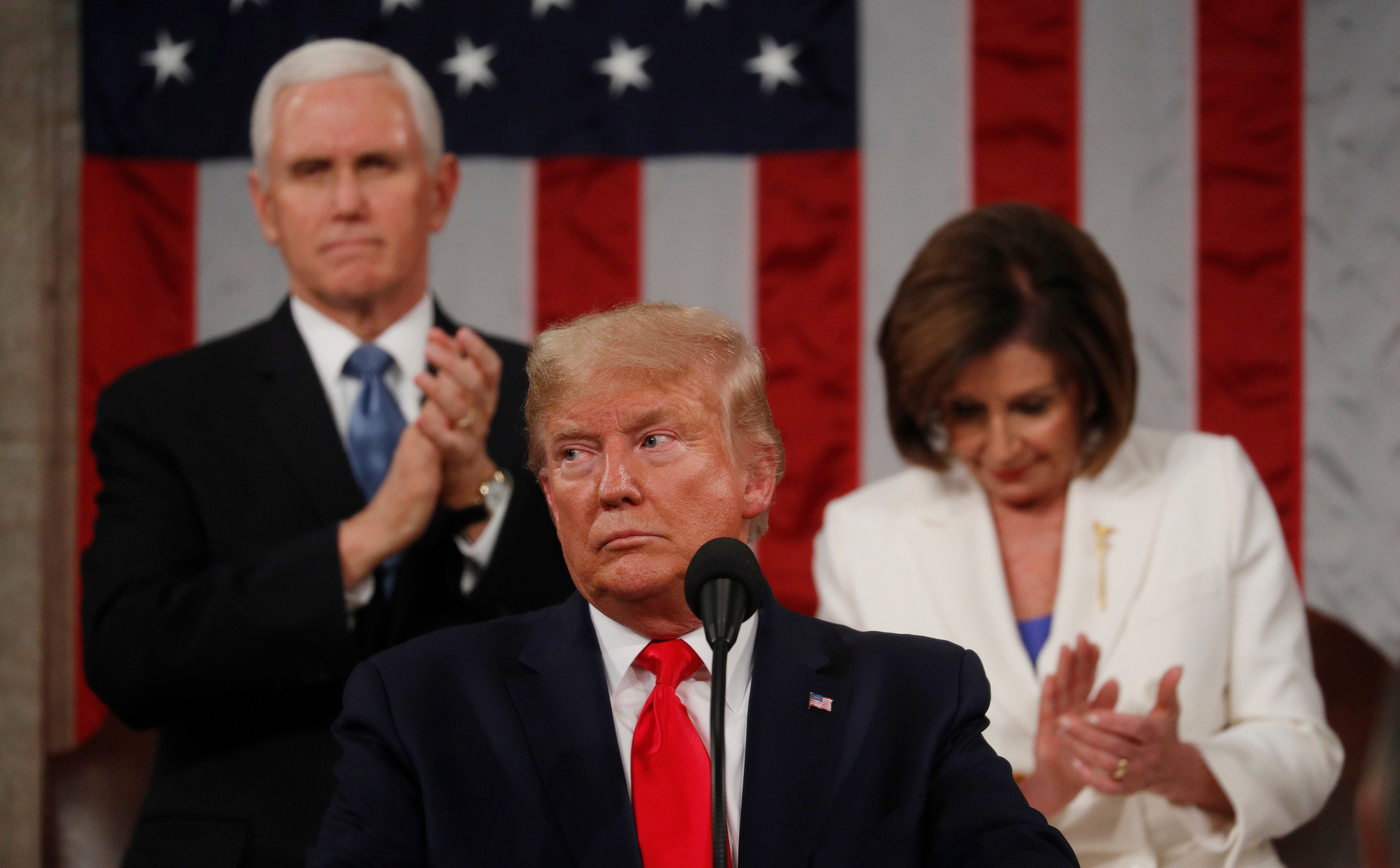 U.S. President Donald Trump delivers his State of the Union address to a joint session of the U.S. Congress in the House Chamber of the U.S. Capitol in Washington, U.S. Feb. 4, 2020. REUTERS/Leah Millis/POOL