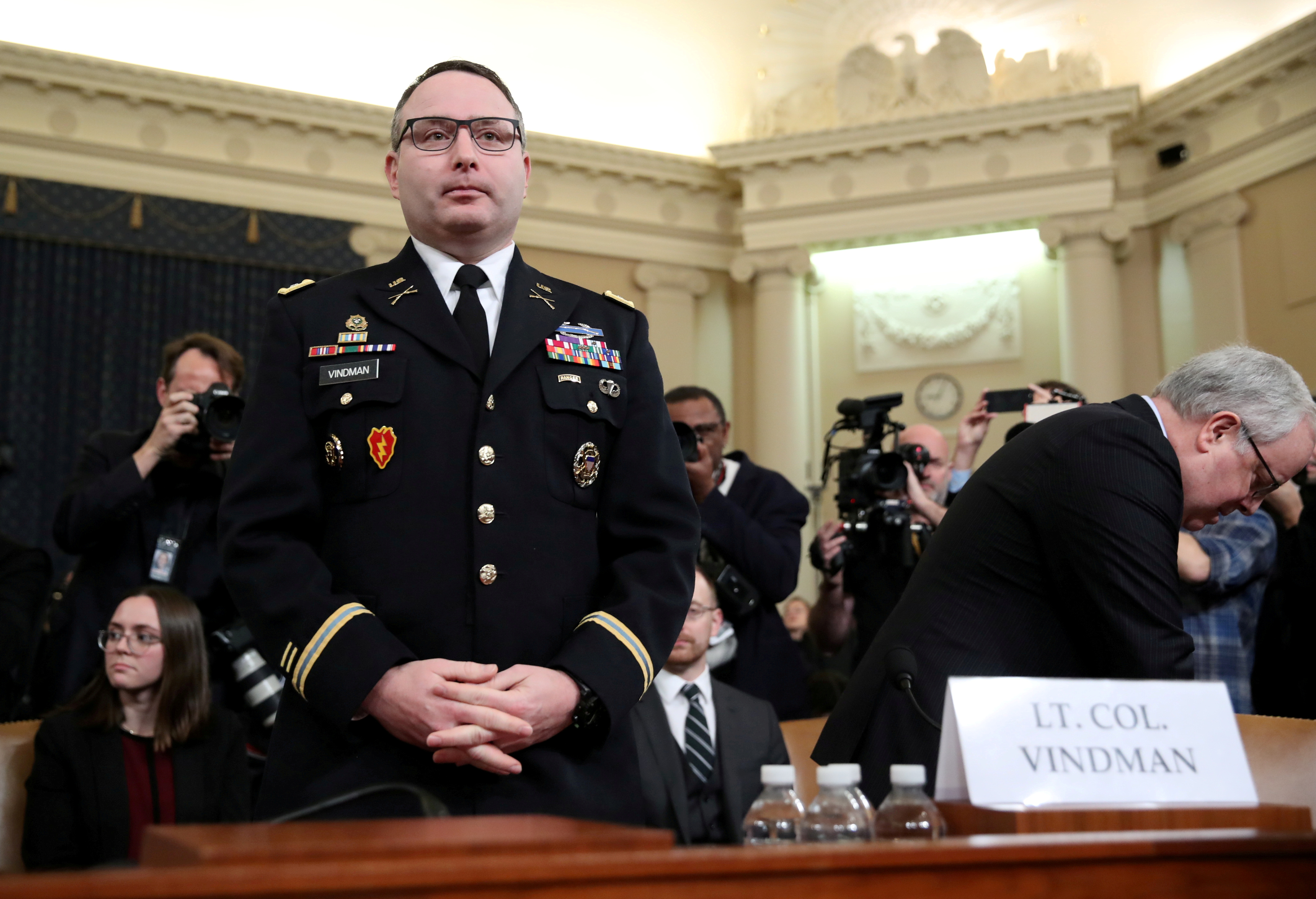 FILE PHOTO: Lt. Colonel Alexander Vindman, then-director for European Affairs at the National Security Council, arrives to testify before a House Intelligence Committee hearing as part of the impeachment inquiry into U.S. President Donald Trump on Capitol Hill in Washington, U.S., Nov. 19, 2019. REUTERS/Jonathan Ernst