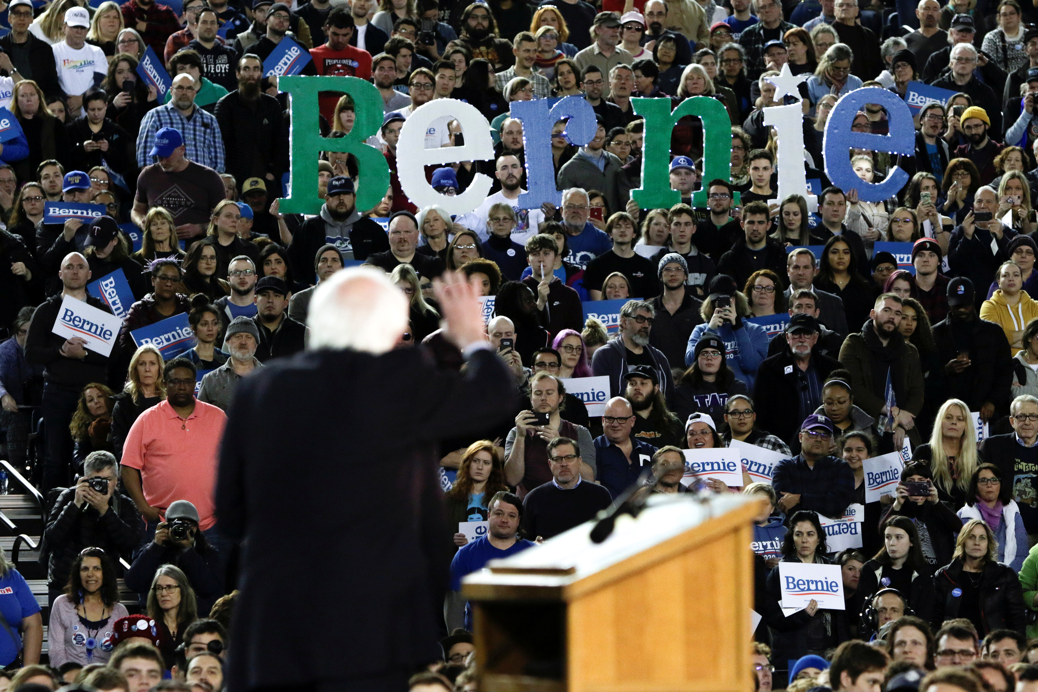 U.S. Democratic 2020 presidential candidate Senator Bernie Sanders speaks at a campaign rally in the Tacoma Dome in Tacoma, Washington, U.S. Feb. 17, 2020. REUTERS/Jason Redmond