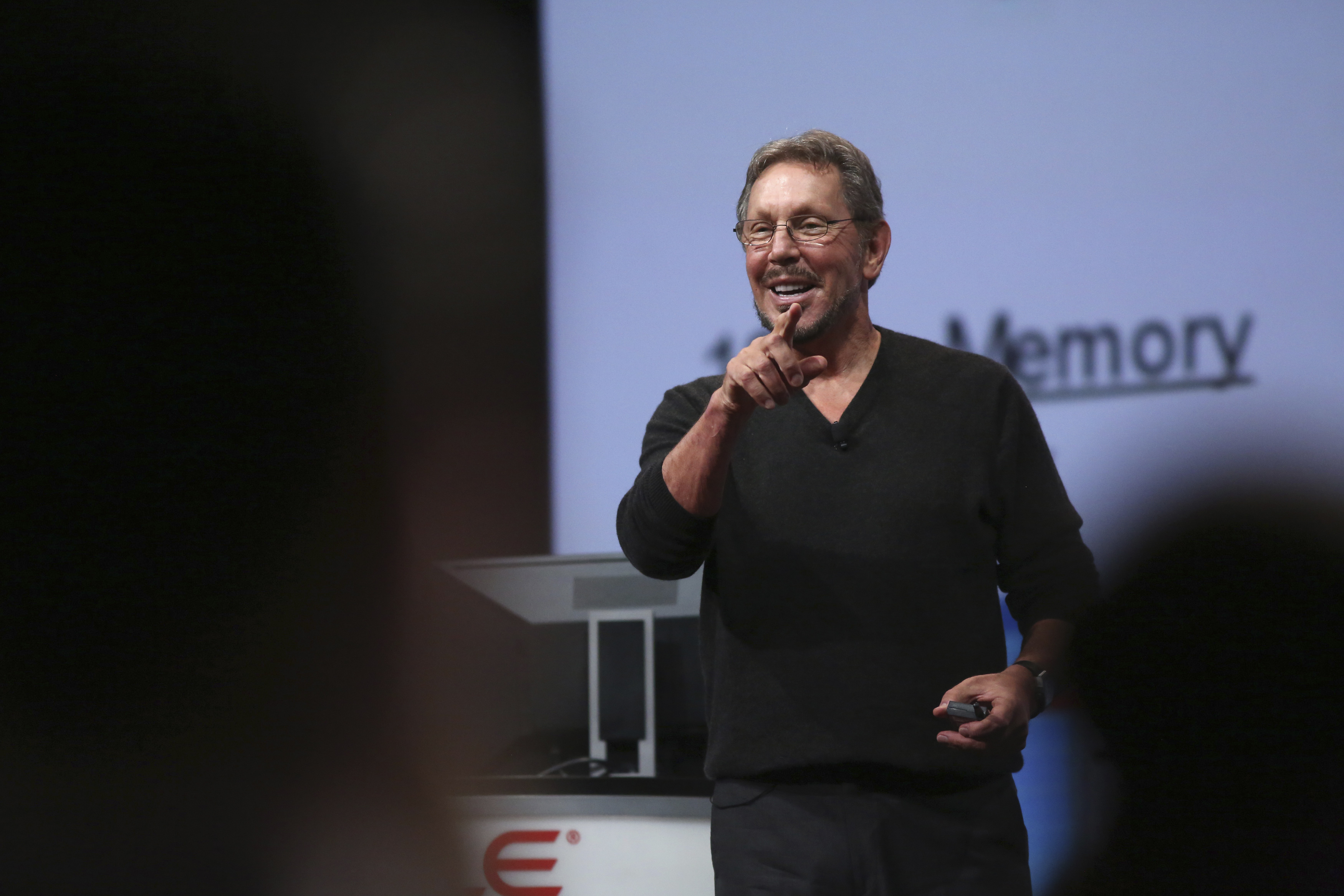 Oracle's Executive Chairman of the Board and Chief Technology Officer Larry Ellison gestures during his keynote speech at Oracle OpenWorld in San Francisco, California Sept. 30, 2014. REUTERS/Robert Galbraith