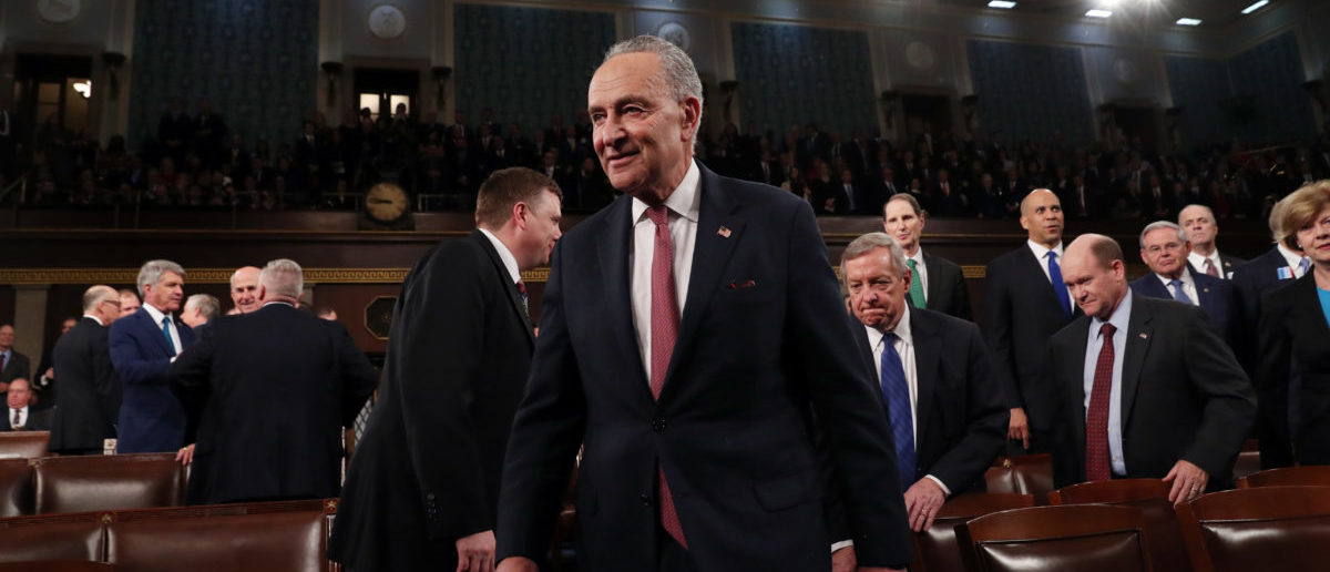 WASHINGTON, DC - FEBRUARY 04: U.S. Senate Minority Leader Chuck Schumer (D-NY) arrives to hear President Donald Trump deliver the State of the Union address in the House chamber on February 4, 2020 in Washington, DC. Trump is delivering his third State of the Union address on the night before the U.S. Senate is set to vote in his impeachment trial. (Photo by Leah Millis-Pool/Getty Images)