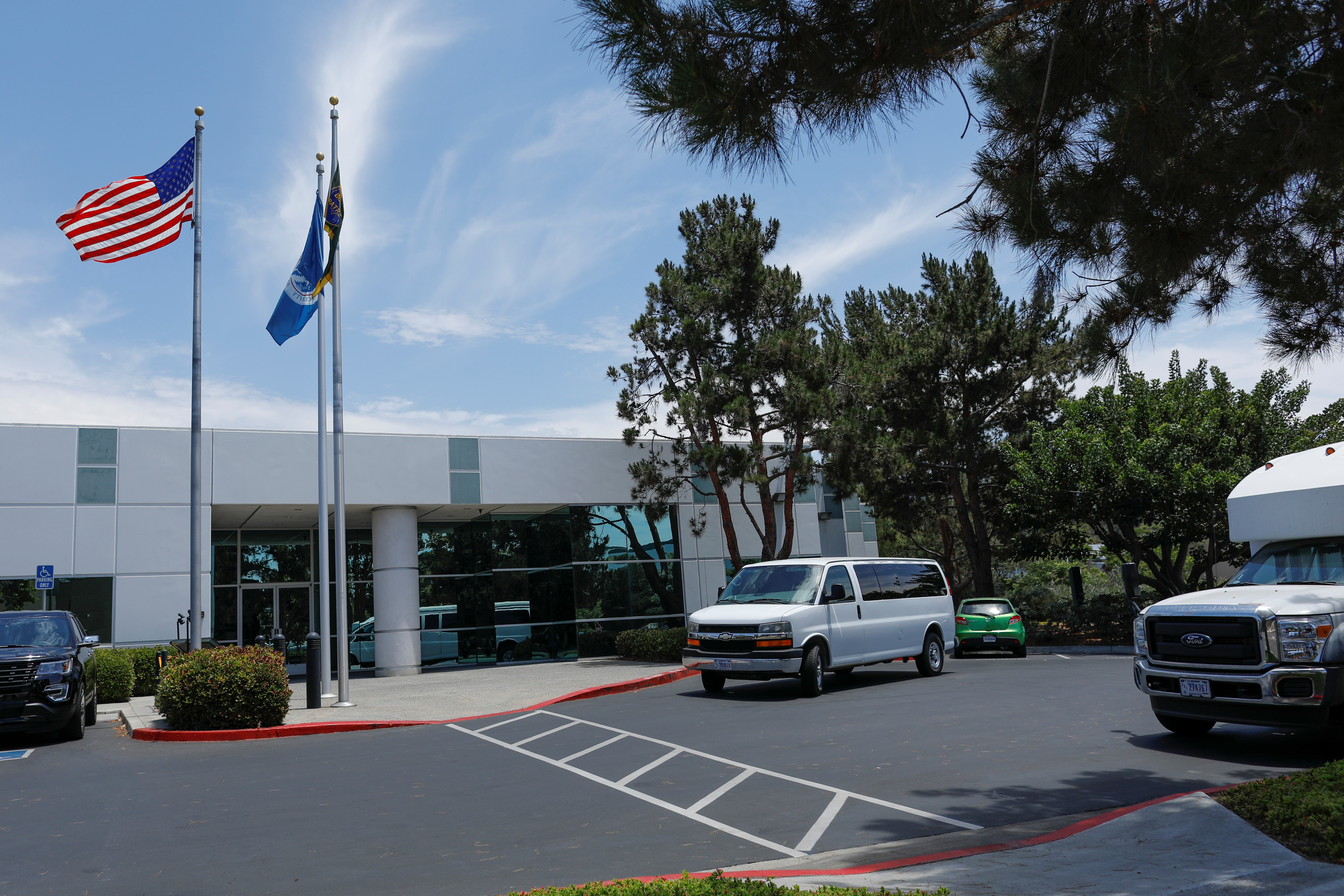 A Customs and Border Patrol facility is shown in Chula Vista, California