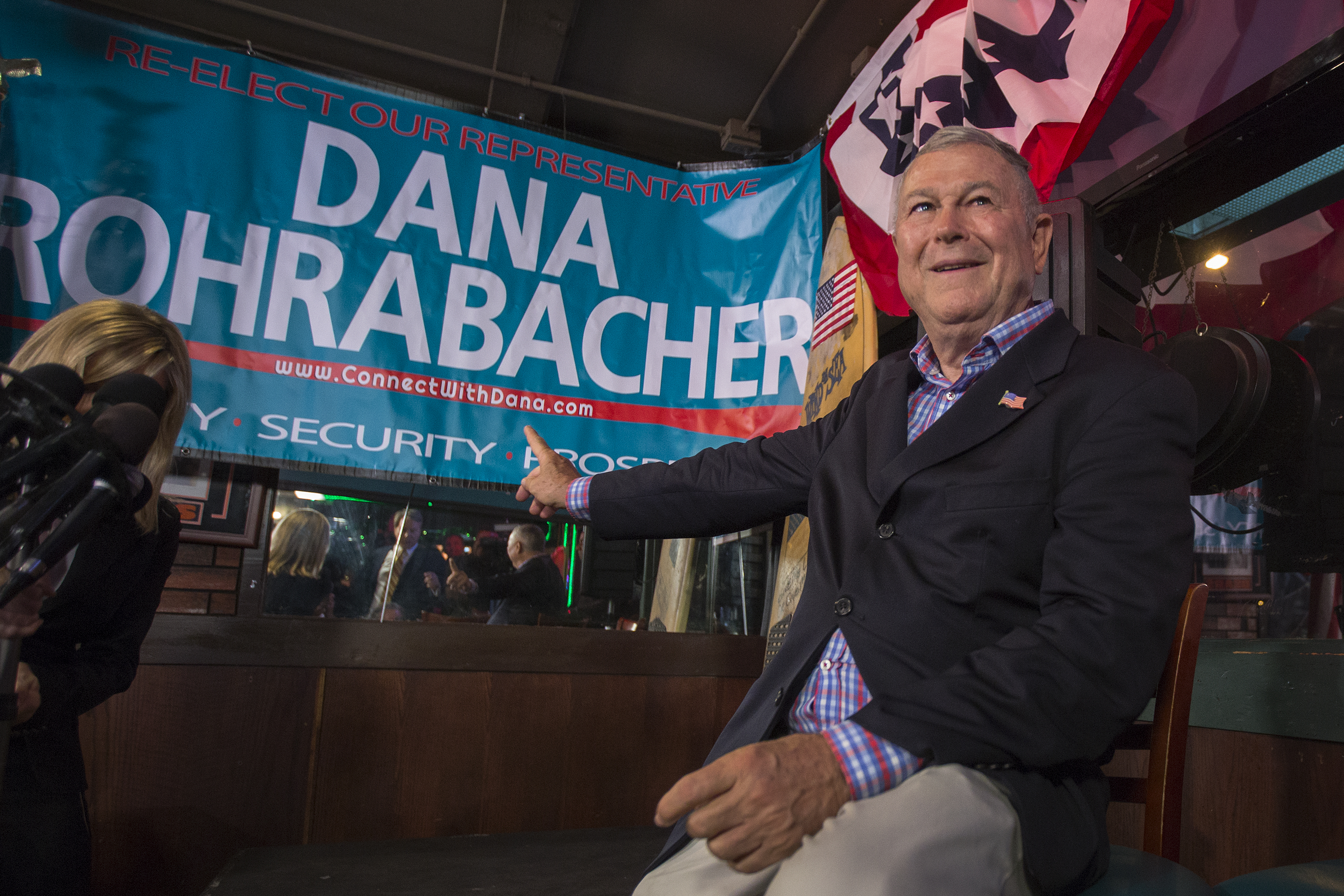 Longtime Rep. Dana Rohrabacher (R-Costa Mesa) talks to reporters on Election Night on November 6, 2018 in Costa Mesa, California. (David McNew/Getty Images)