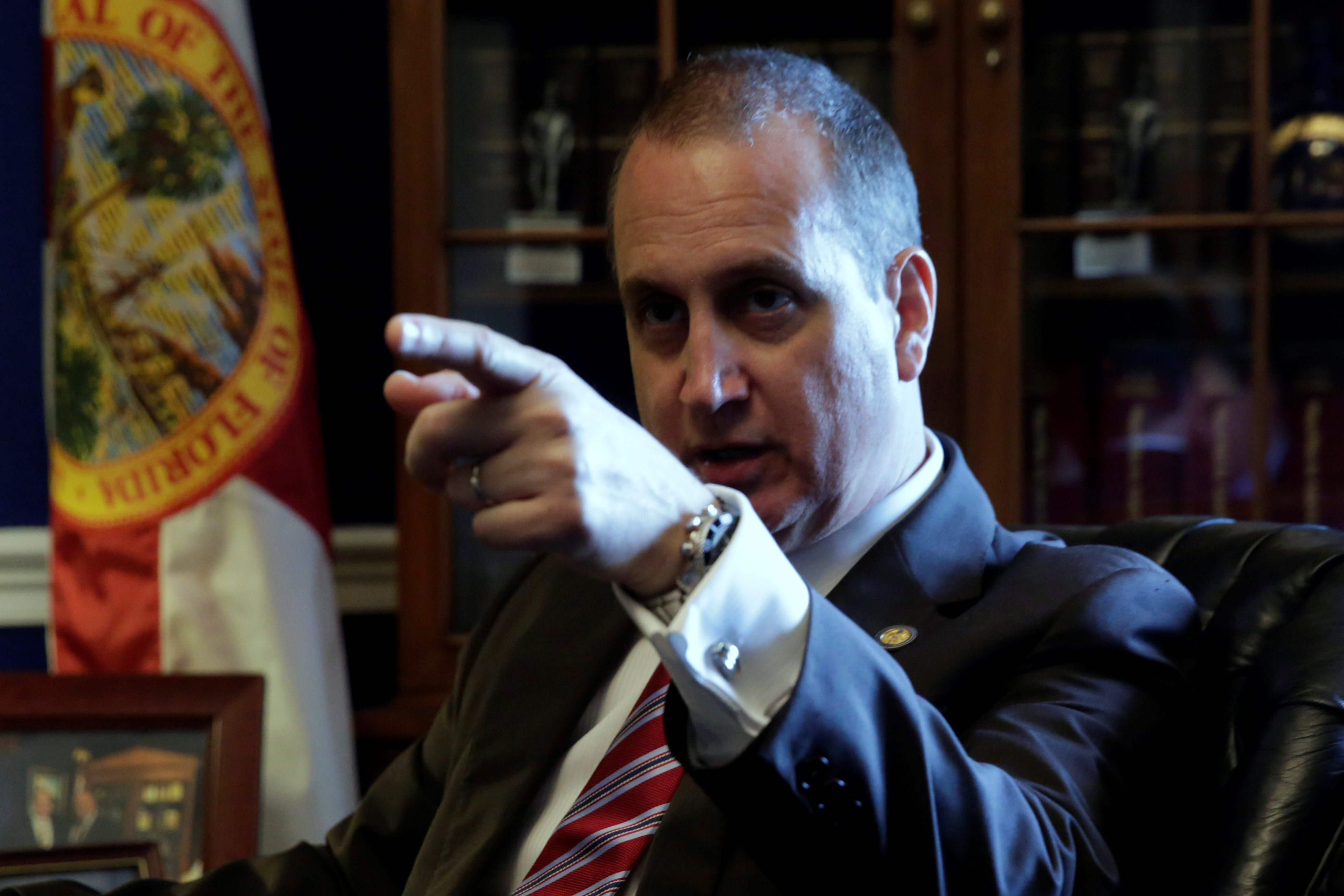 Rep. Mario Diaz-Balart (R-FL) speaks during an interview for Reuters