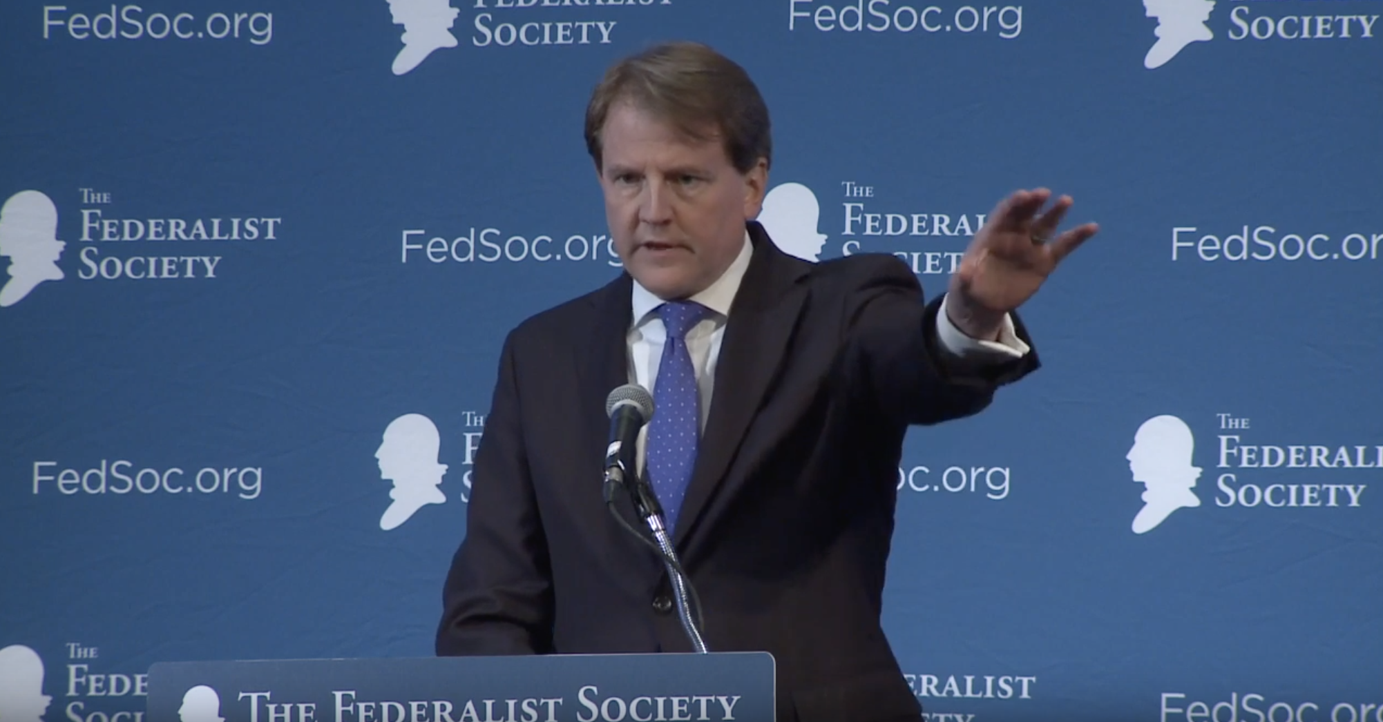 Former White House counsel Don McGahn speaks at a Federalist Society convention in 2017. (YouTube screenshot/Federalist Society)