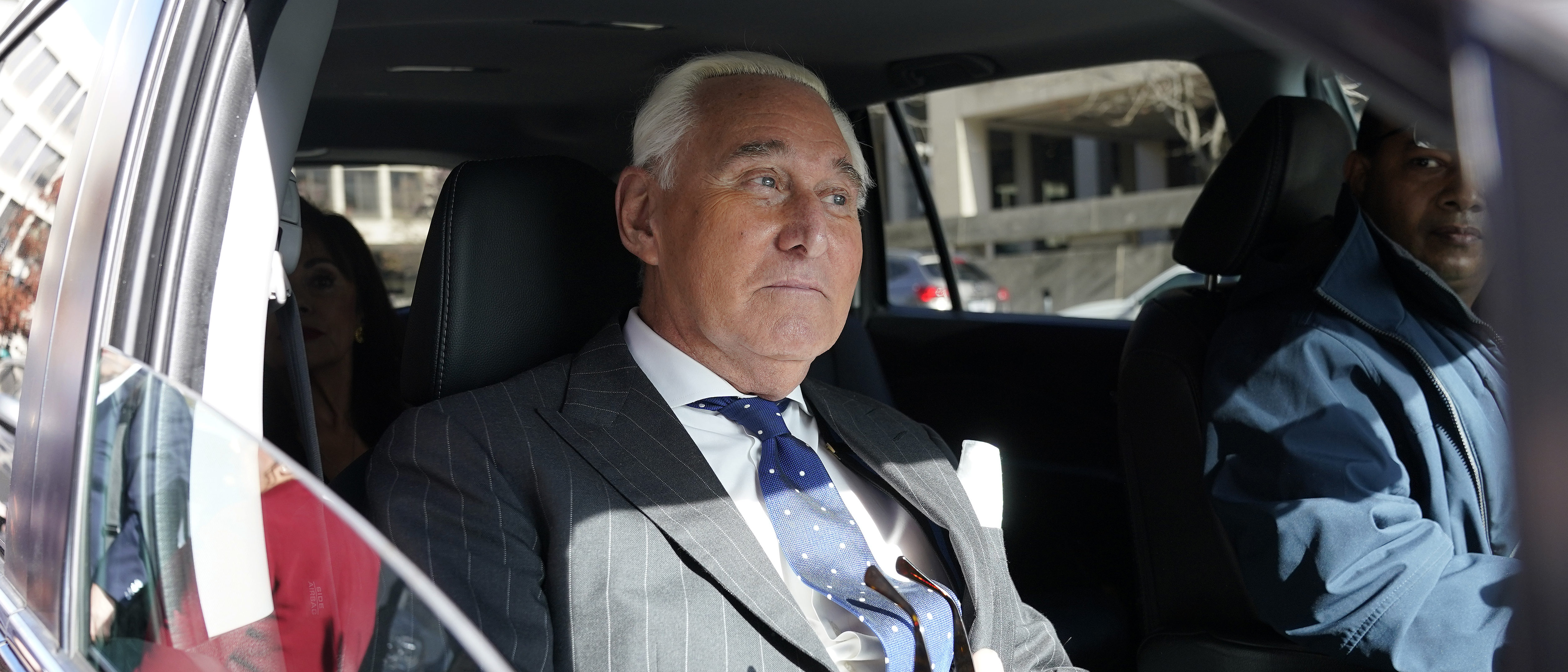 Former advisor to U.S. President Donald Trump, Roger Stone, departs the E. Barrett Prettyman United States Courthouse after being found guilty of obstructing a congressional investigation into Russia's interference in the 2016 election on November 15, 2019 in Washington, DC. (Win McNamee/Getty Images)
