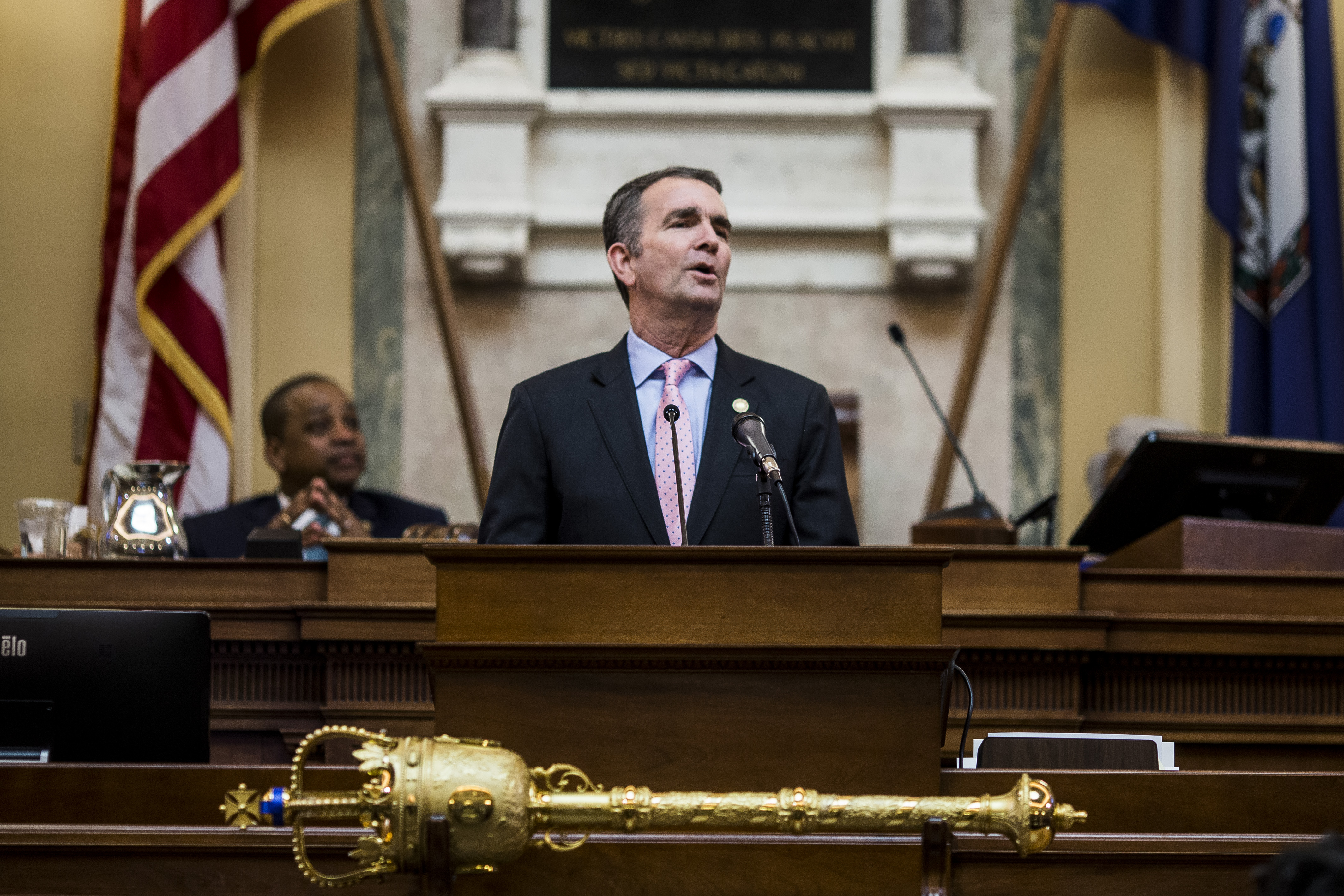 RICHMOND, VA - JANUARY 08: Gov. Ralph Northam delivers the State of the Commonwealth address at the Virginia State Capitol on January 8, 2020 in Richmond, Virginia. The 2020 legislative session began today under Democratic control. (Photo by Zach Gibson/Getty Images)
