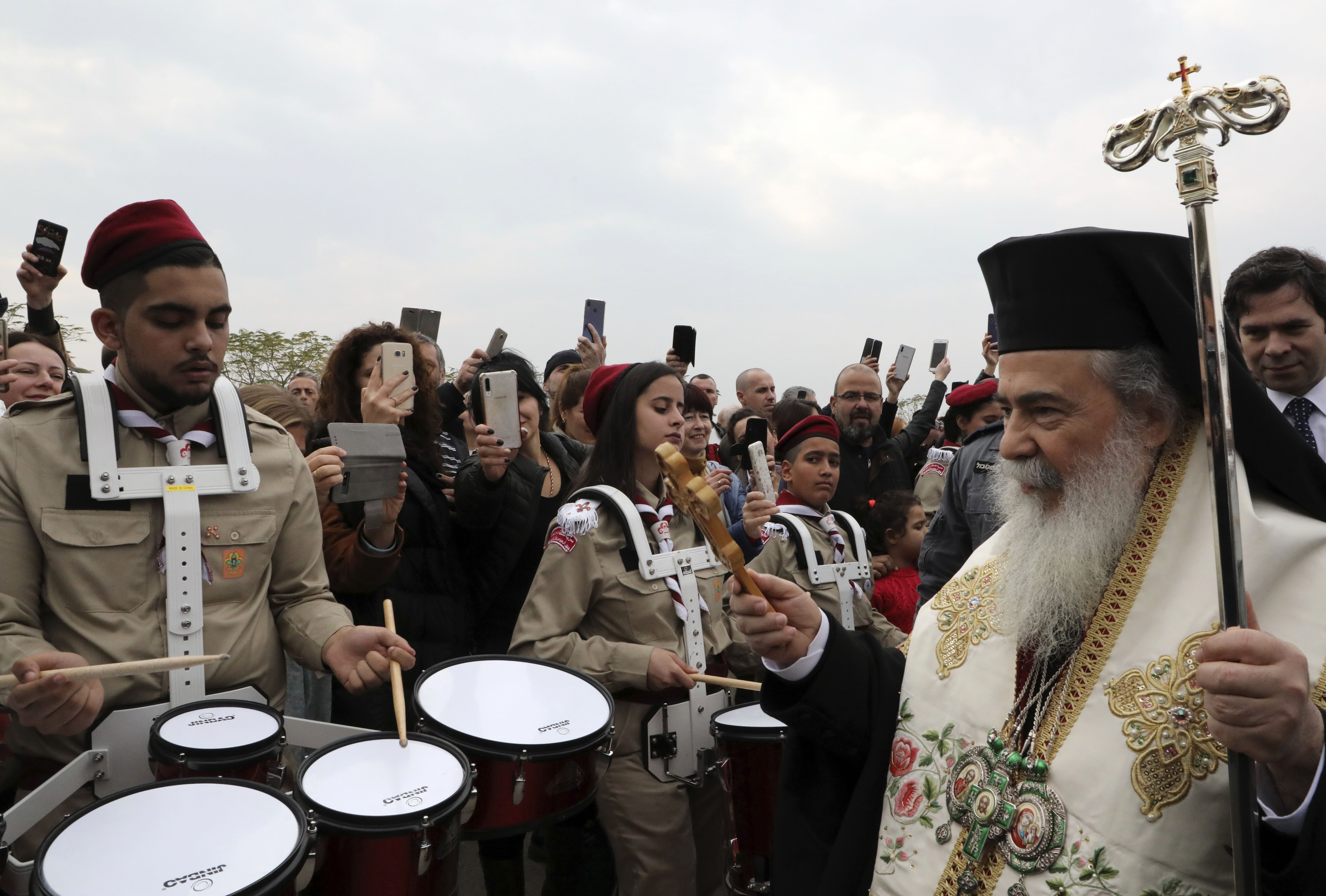 Patriarch of the Orthodox Church of Jerusalem, Theophilos III (R) arrives at Qasr al-Yahud (Photo by HAZEM BADER/AFP via Getty Images)