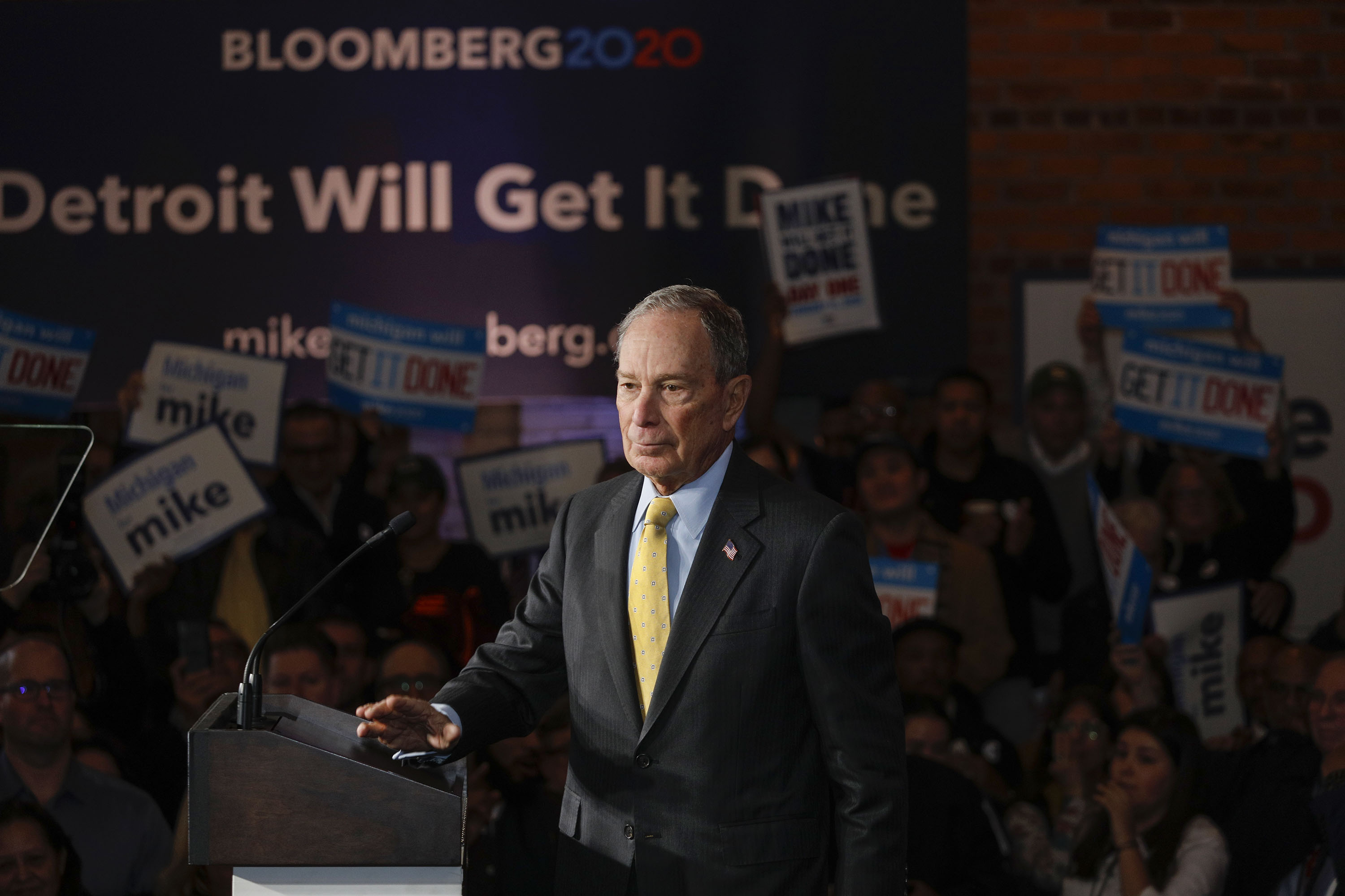 DETROIT, MI - FEBRUARY 04: Democratic presidential candidate former New York City Mayor Mike Bloomberg holds a campaign rally on February 4, 2020 in Detroit, Michigan. Bloomberg is planning to skip the early primaries and focus his efforts on Super Tuesday and beyond. (Photo by Bill Pugliano/Getty Images)