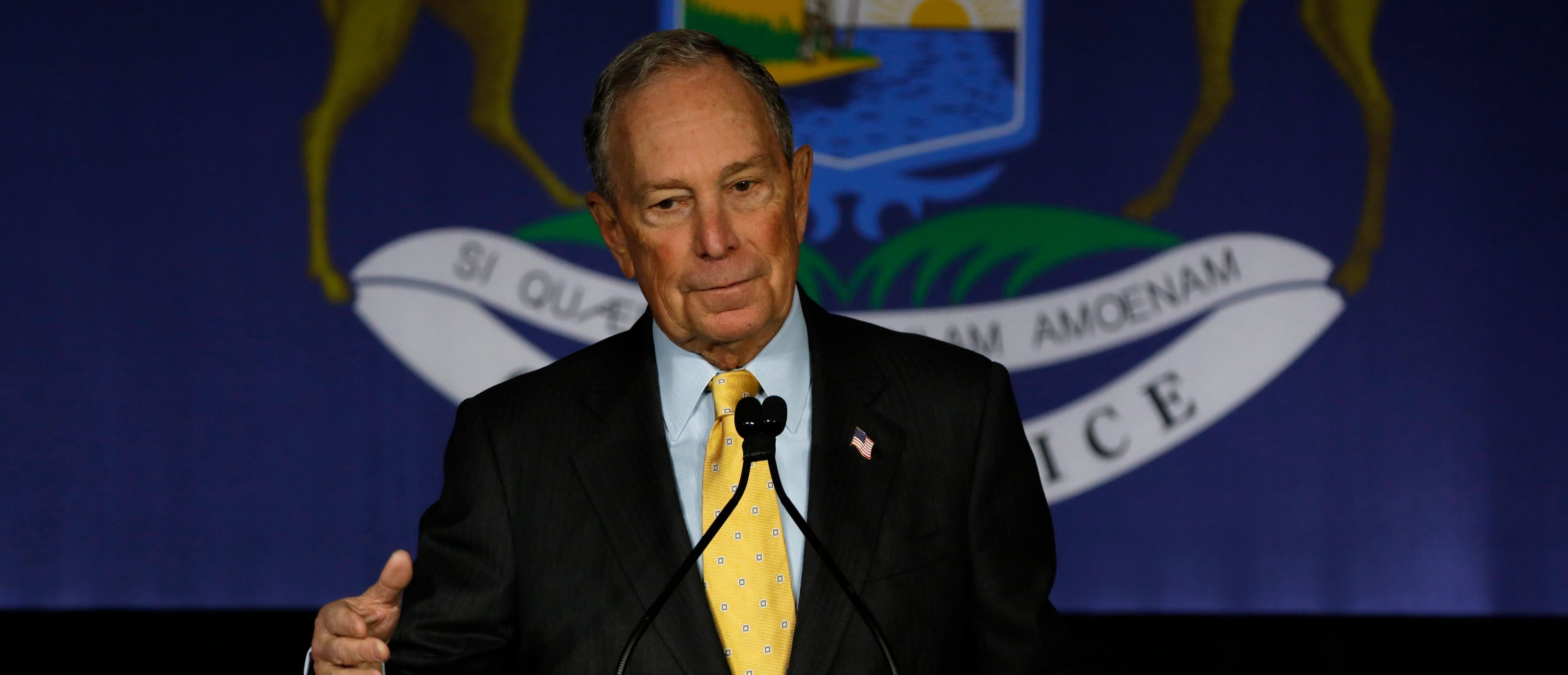 Democratic presidential candidate and former New York Mayor Michael Bloomberg speaks at a campaign stop at Eastern Market in Detroit, Michigan, on February 4, 2020. (JEFF KOWALSKY/AFP via Getty Images)