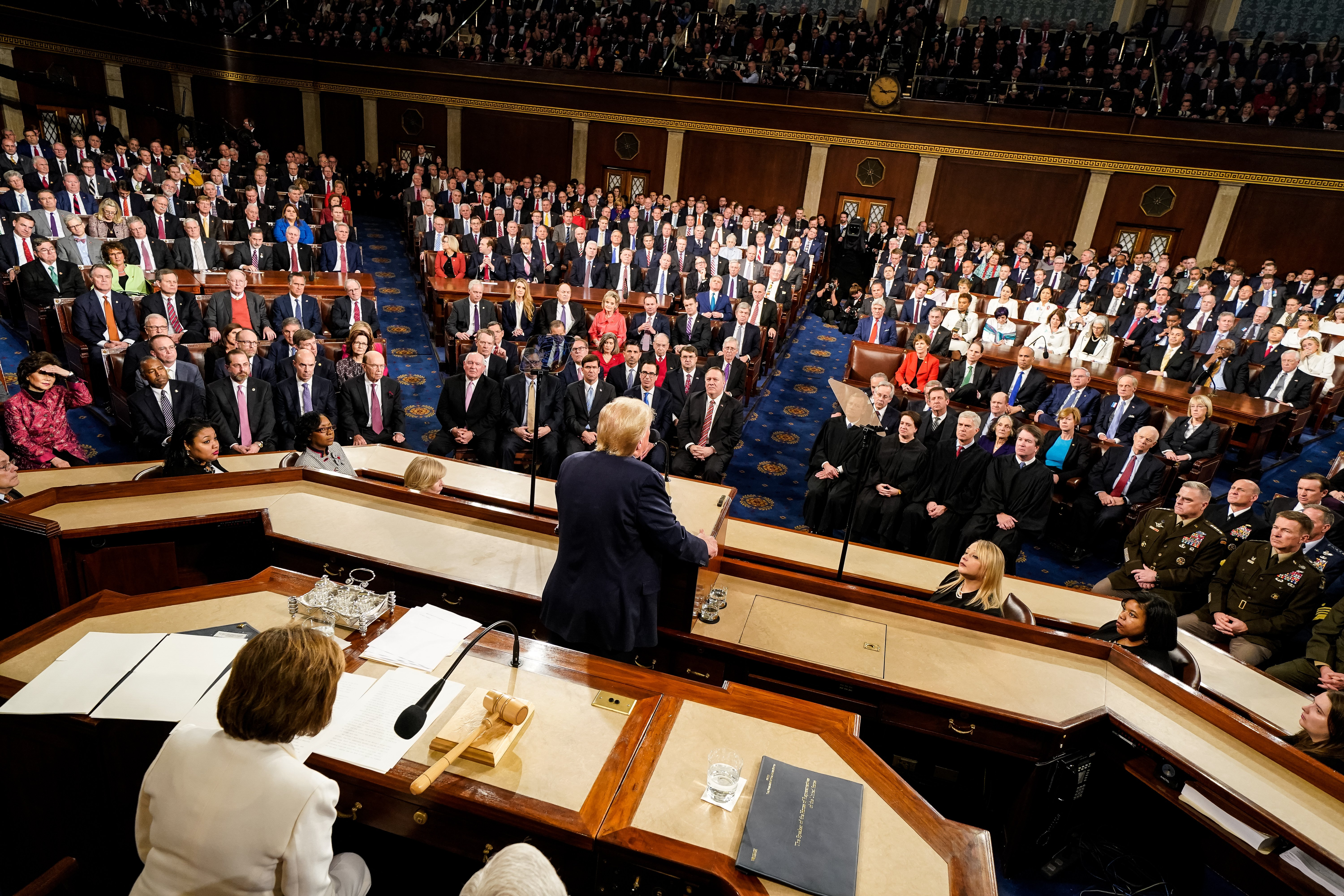 WASHINGTON, DC - FEBRUARY 04: U.S. President Donald Trump delivers the State of the Union address at the U.S. Capitol on February 4, 2020 in Washington, DC. President Trump delivers his third State of the Union to the nation the night before the U.S. Senate is set to vote in his impeachment trial. (Photo by Doug Mills-Pool/Getty Images)