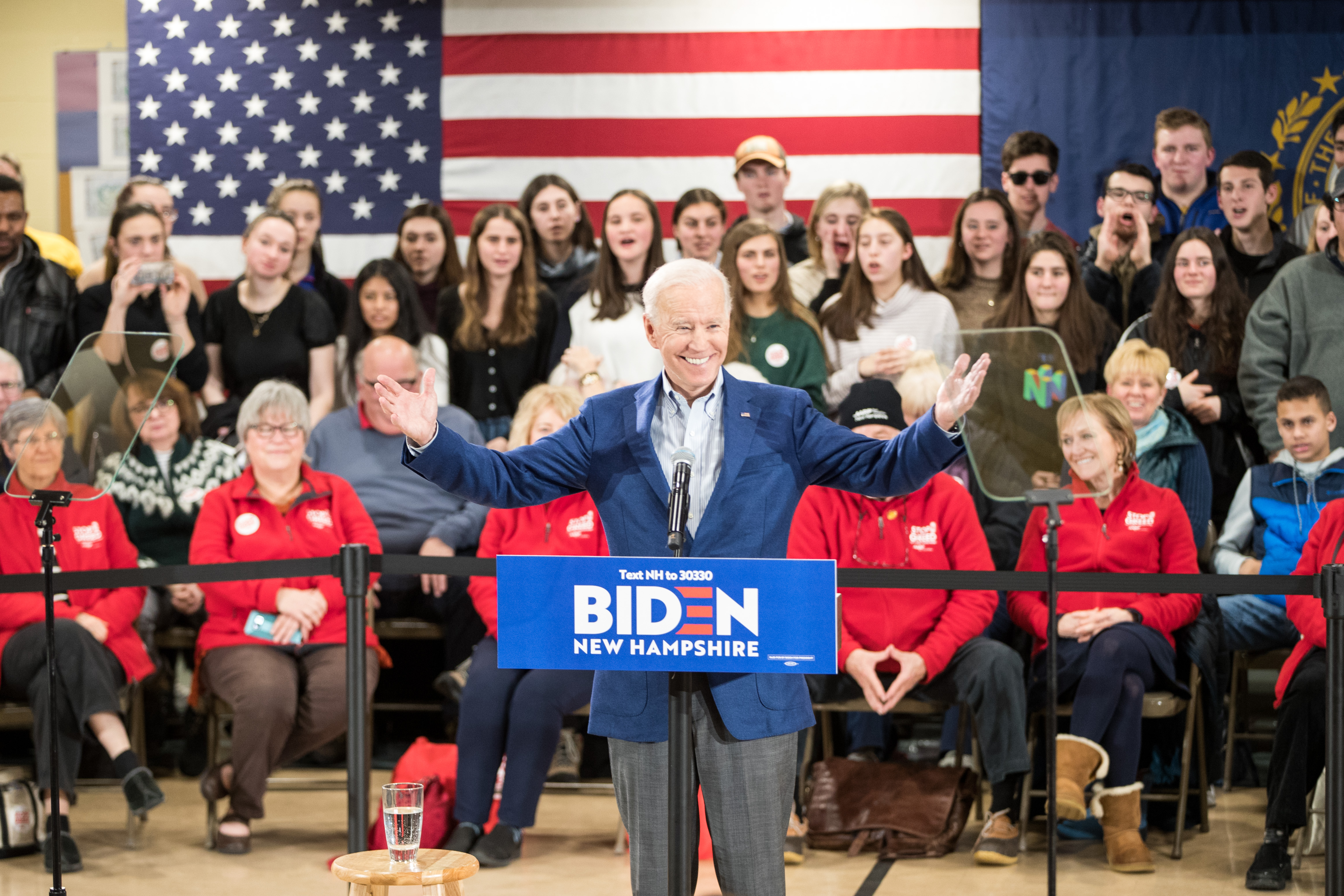 MANCHESTER, NH - FEBRUARY 10: Democratic presidential candidate former Vice President Joe Biden speaks during a campaign event on February 10, 2020 in Manchester, New Hampshire. New Hampshire holds its first in the nation primary tomorrow. (Photo by Scott Eisen/Getty Images)