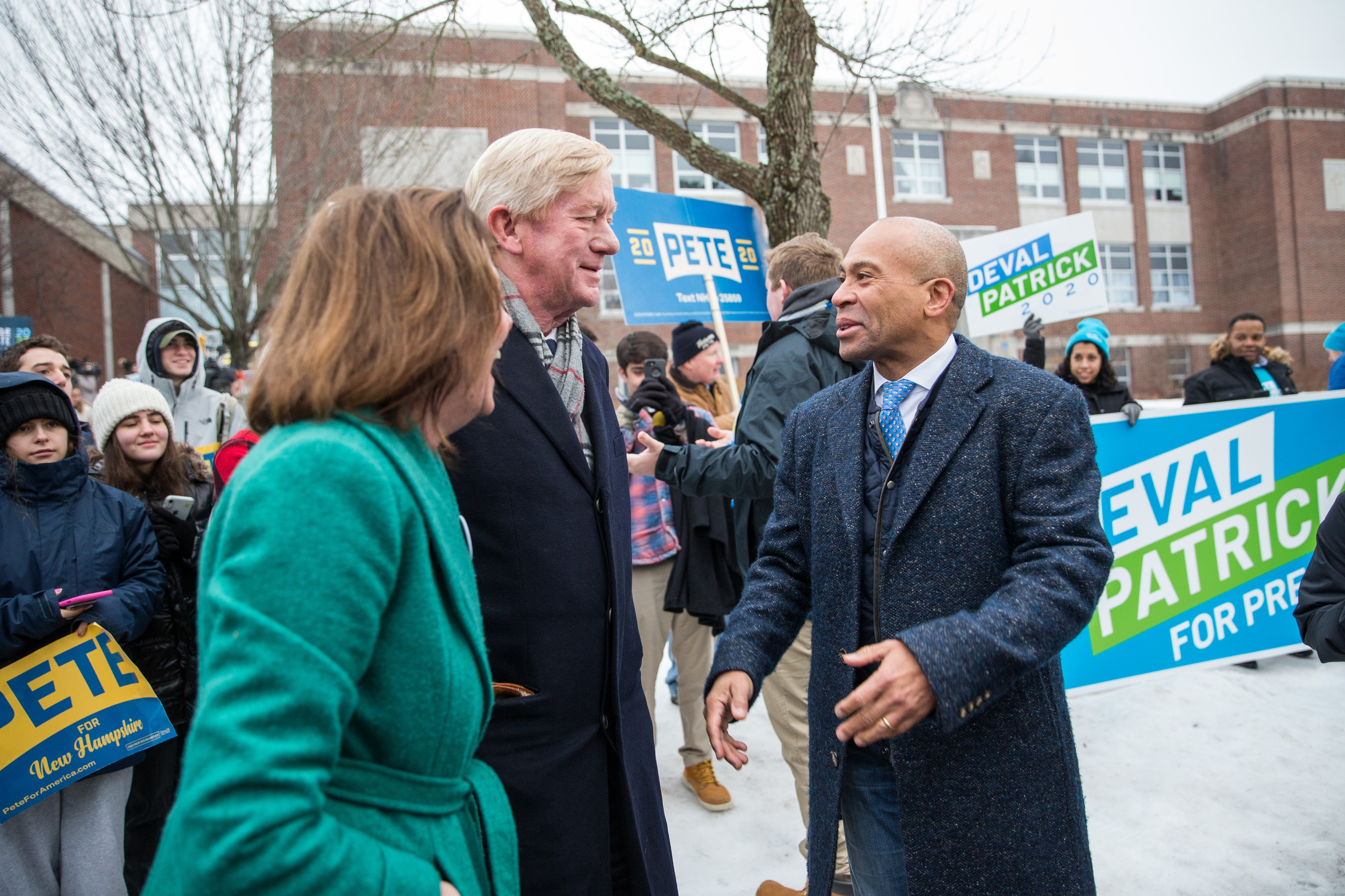 MANCHESTER, NH - FEBRUARY 11: Republican presidential candidate former Massachusetts Governor Bill Weld (C), talks with Democratic presidential candidate former Massachusetts Governor Deval Patrick outside of the Webster Elementary School during the presidential primary on February 11, 2020 in Manchester, New Hampshire. (Photo by Scott Eisen/Getty Images)