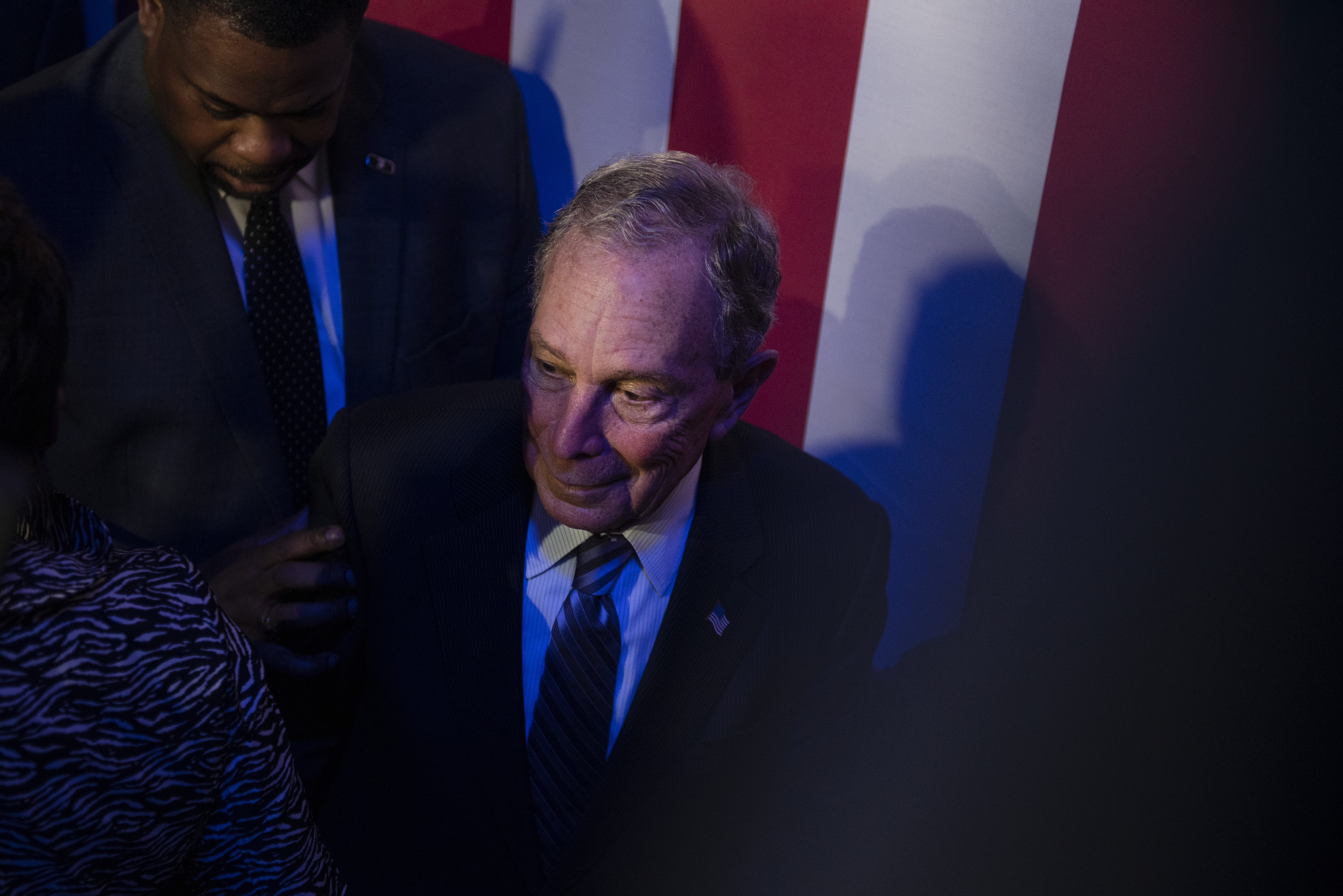 "HOUSTON, TX - FEBRUARY 13: Democratic presidential candidate Mike Bloomberg steps off the stage after a speech at the Buffalo Soldiers National Museum on February 13, 2020 in Houston, Texas. The former New York City mayor launched ""Mike for Black America,"" an effort to focus on key issues relating to black Americans on his fifth campaign trip to Texas. (Photo by Callaghan O'Hare/Getty Images)"