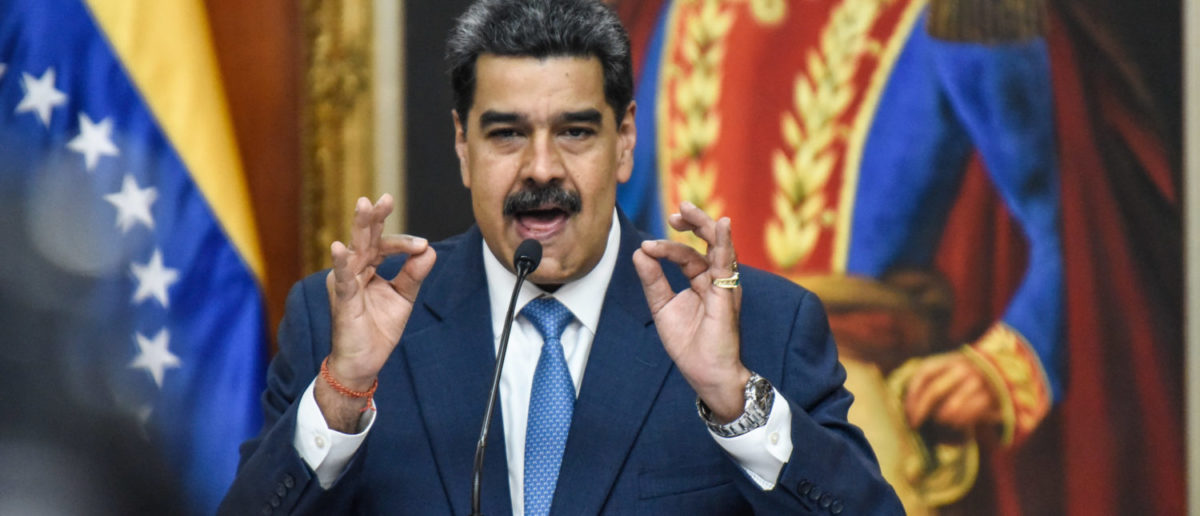 CARACAS, VENEZUELA - FEBRUARY 14: President of Venezuela Nicolas Maduro speaks during a press conference at Miraflores Palace on February 14, 2020 in Caracas, Venezuela. (Photo by Carolina Cabral/Getty Images)