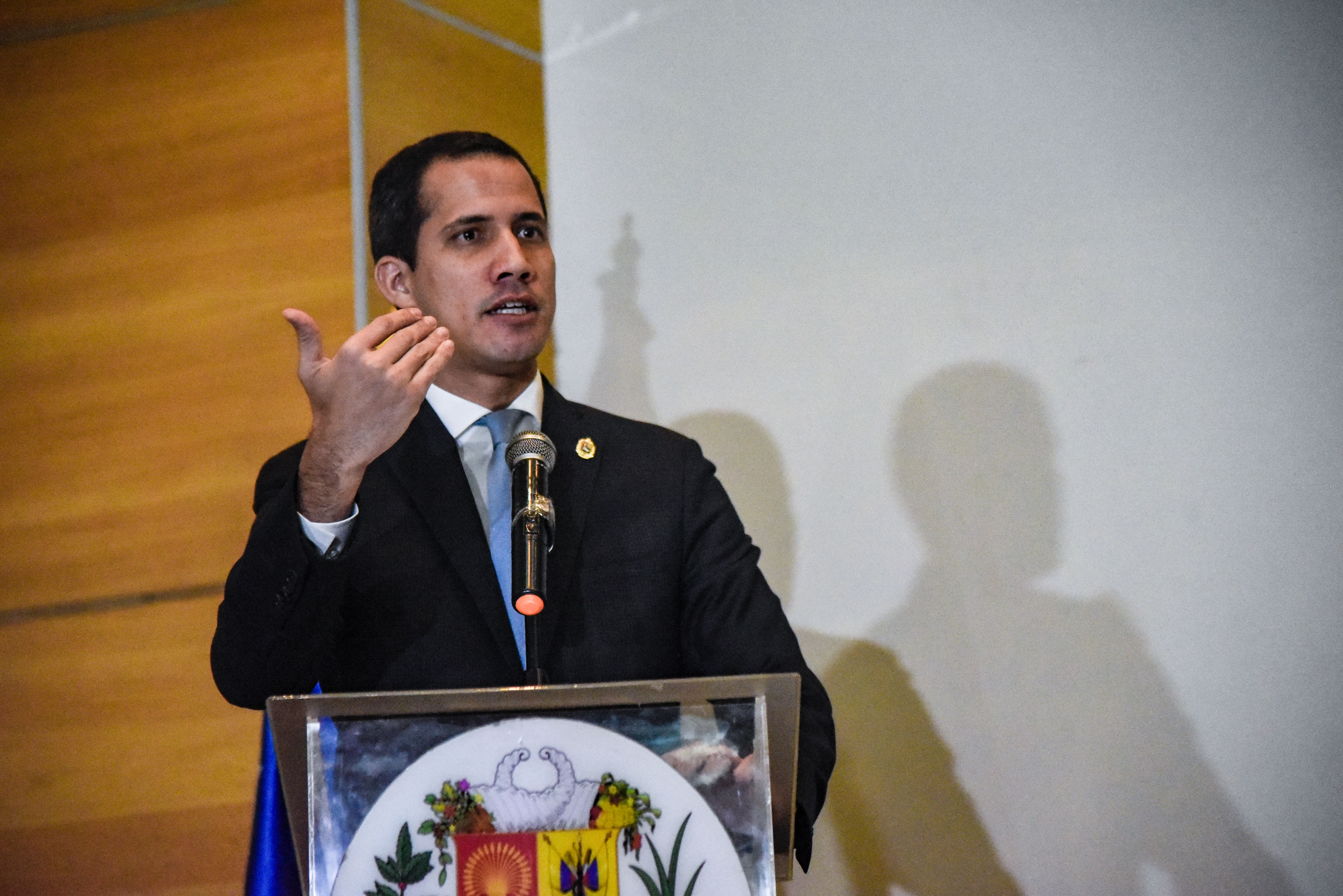 CARACAS, VENEZUELA - FEBRUARY 15: Opposition leader and and reelected president of the National Assembly by anti-Maduro lawmakers majority Juan Guaido speaks during a press conference regarding his International Tour at Centro Letonia on February 15, 2020 in Caracas, Venezuela. Guaido arrived to Venezuela on February 11 amid a chaotic scene at Maiquetia Airport where Pro-Maduro supporters clashed with opposition lawmakers. Guaido travelled to Colombia, Europe, Canada and United States to gain international support for his effort to oust President Nicolas Maduro. (Photo by Carolina Cabral/Getty Images)