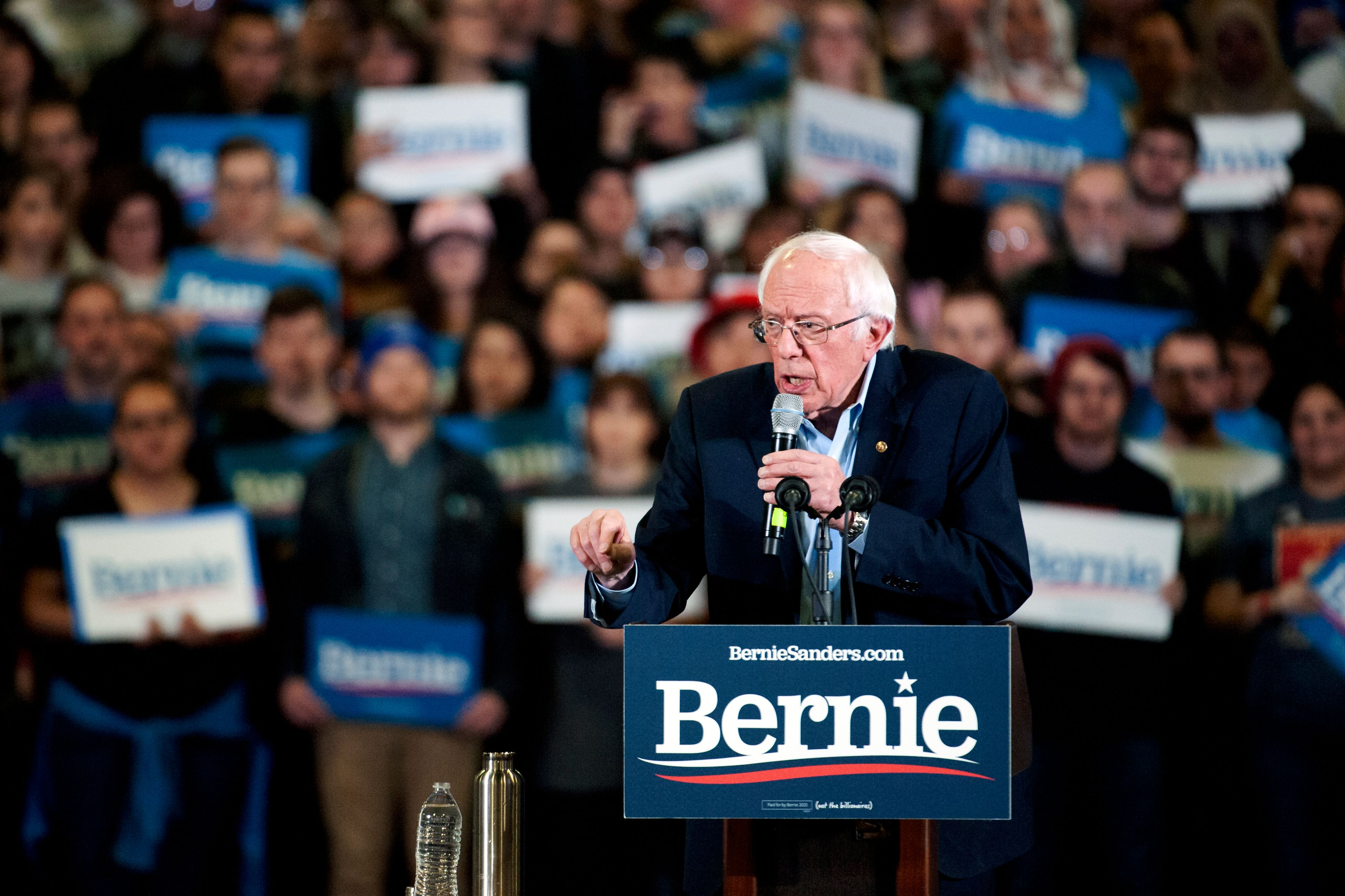 Democratic presidential candidate Vermont Senator Bernie Sanders addresses supporters during a campaign rally in Denver, Colorado on February 16, 2020. (Photo by Jason Connolly / AFP)
