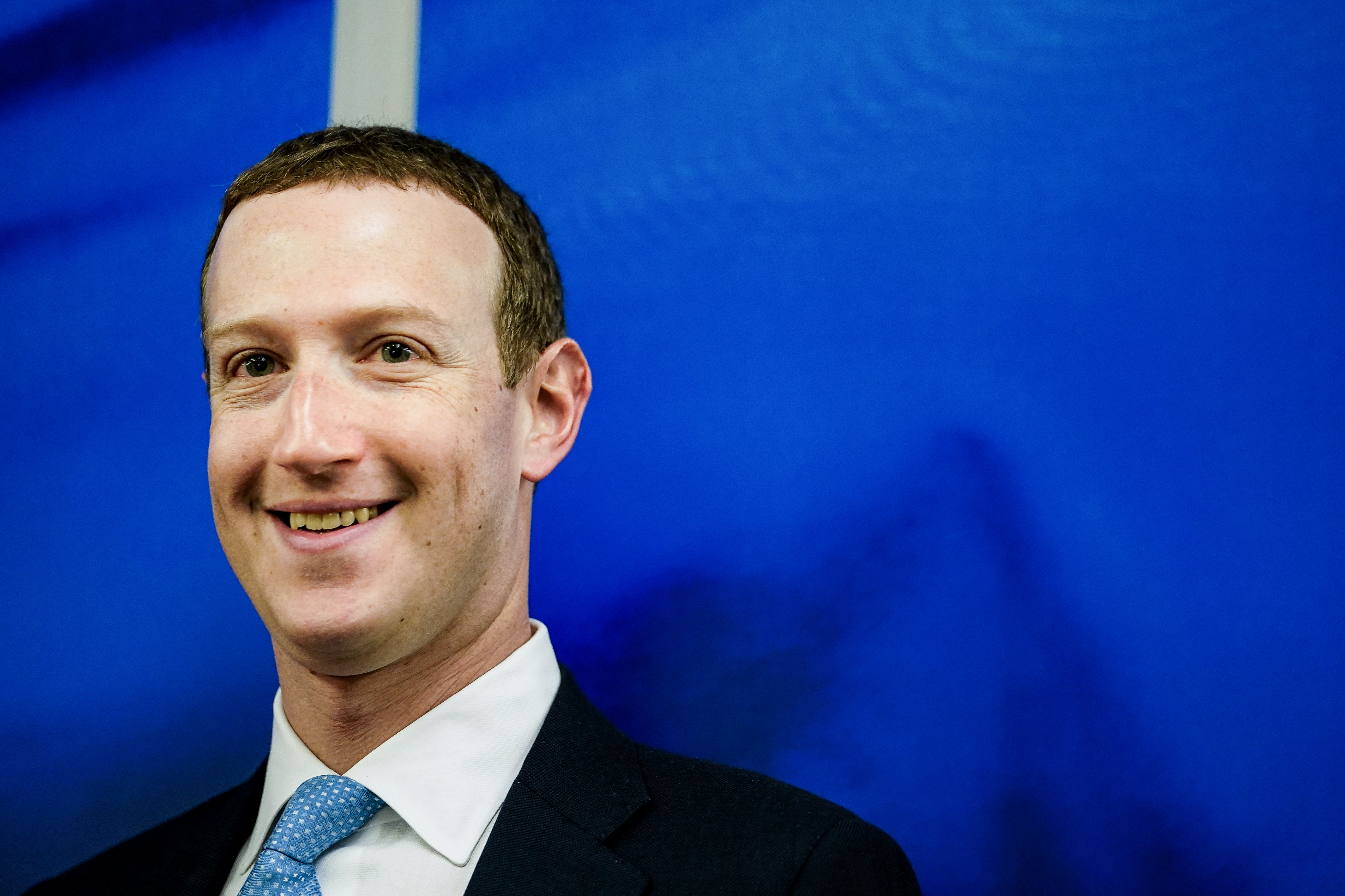 Founder and CEO of US online social media and social networking service Facebook Mark Zuckerberg reacts upon his arrival for a meeting with European Commission vice-president in charge for Values and Transparency, in Brussels, on February 17, 2020. (KENZO TRIBOUILLARD/AFP via Getty Images)