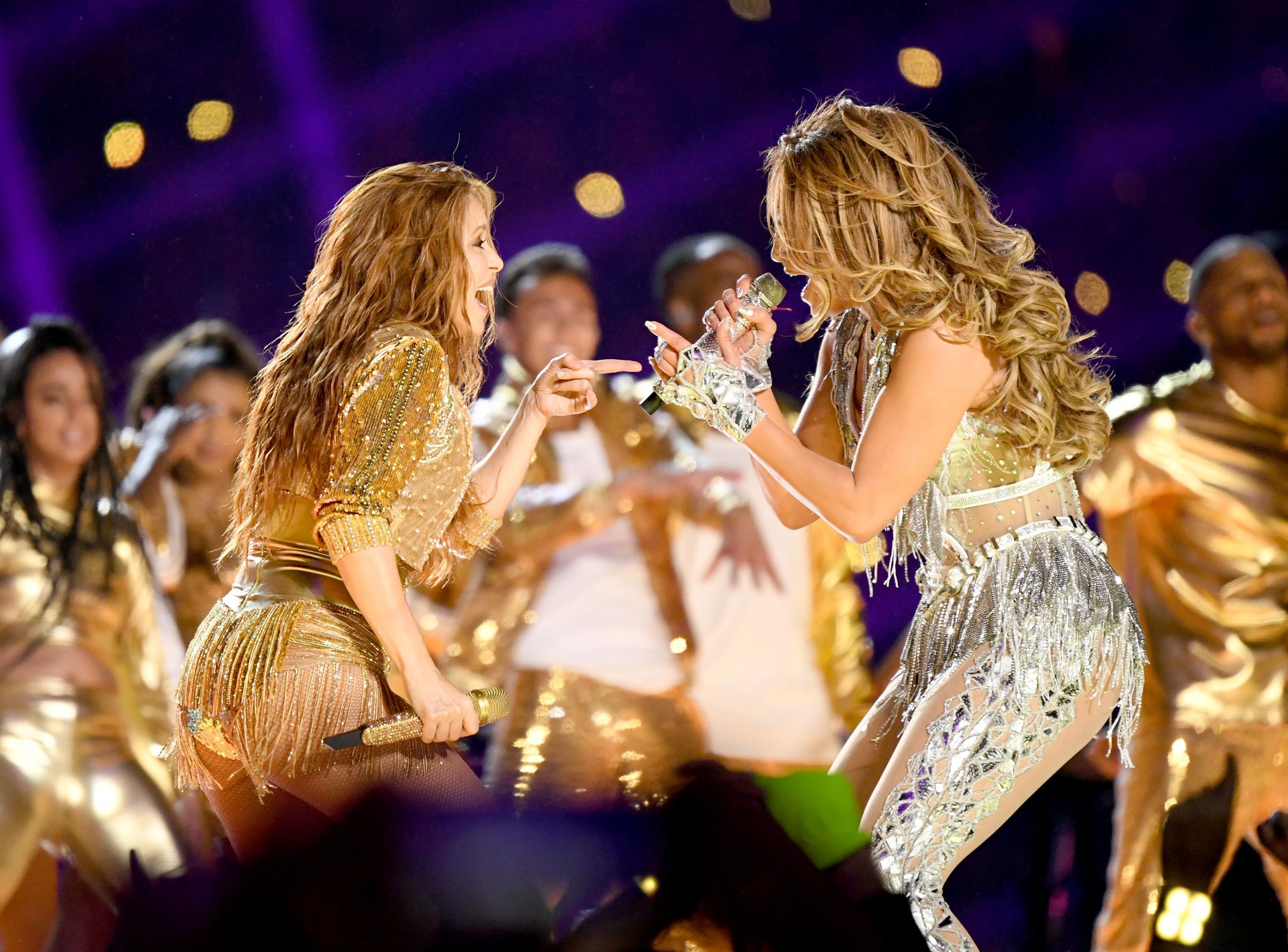 Shakira and Jennifer Lopez perform onstage during the Pepsi Super Bowl LIV Halftime Show at Hard Rock Stadium. (Photo by Kevin Winter/Getty Images)