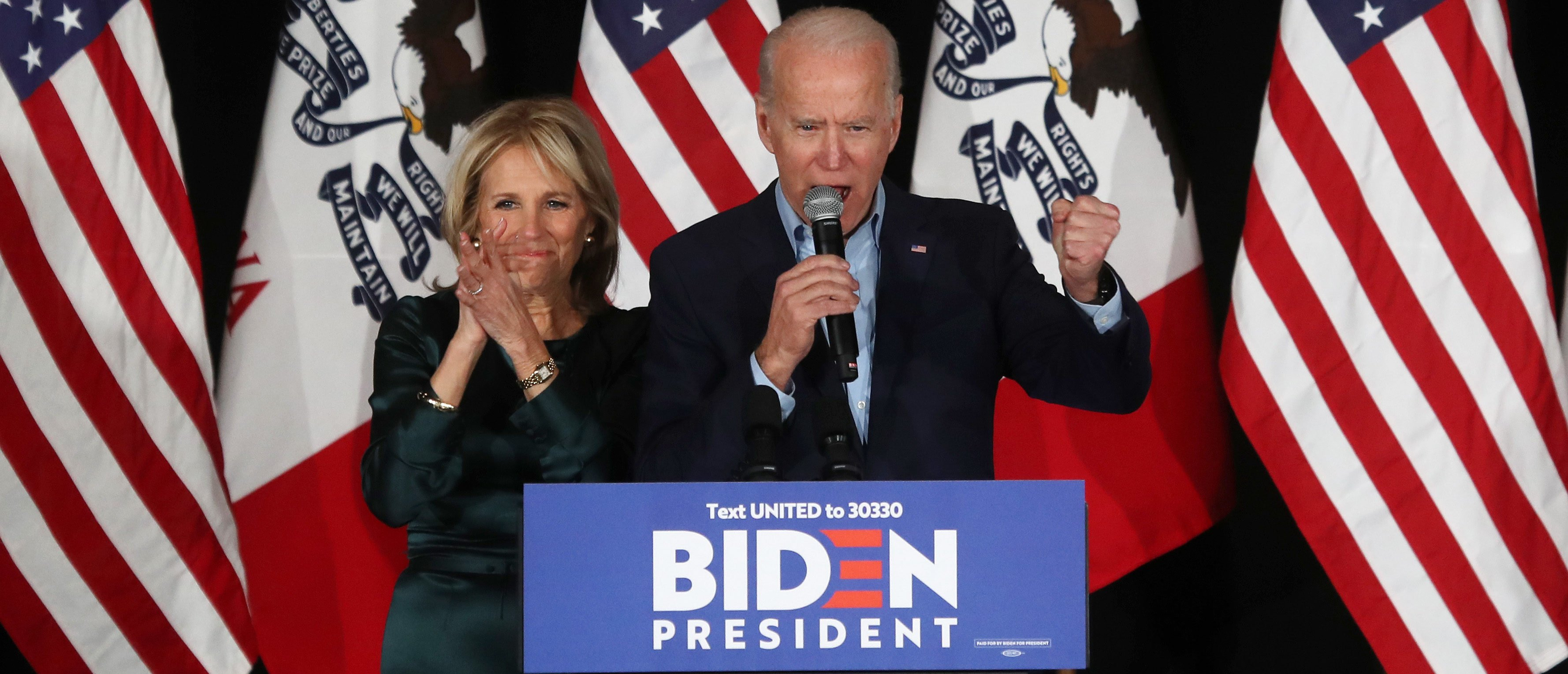 DES MOINES, IOWA - FEBRUARY 03: Democratic presidential candidate former Vice President Joe Biden and wife Dr. Jill Biden greet supporters at a caucus night watch party on February 03, 2020 in Des Moines, Iowa. Iowa is the first contest in the 2020 presidential nominating process with the candidates then moving on to New Hampshire. (Photo by Justin Sullivan/Getty Images)