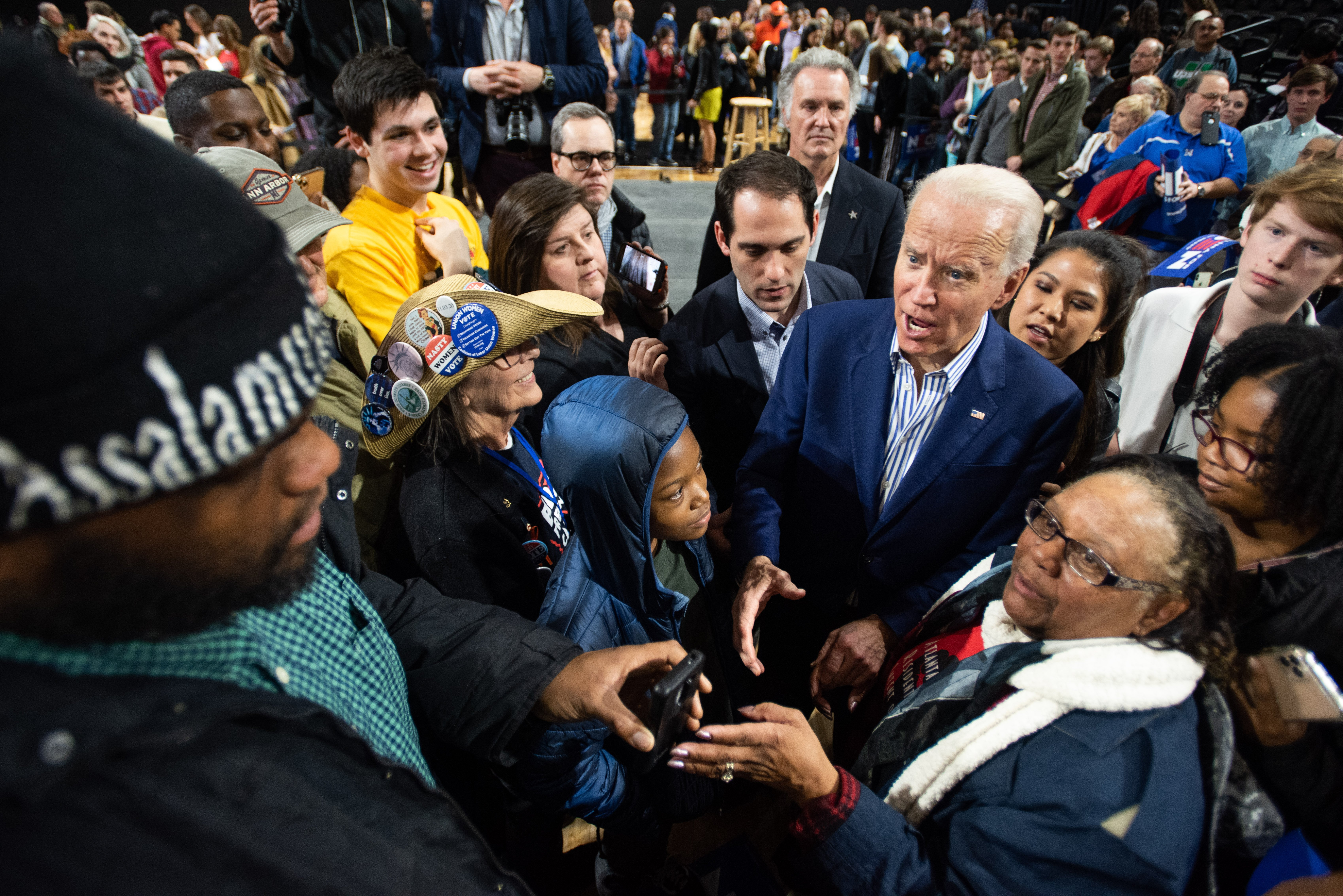 SPARTANBURG, SC - FEBRUARY 28: Democratic presidential candidate former Vice President Joe Biden responds to a man asking for a photograph at a campaign event at Wofford University February 28, 2020 in Spartanburg, South Carolina. South Carolinians will vote in the Democratic presidential primary tomorrow. (Photo by Sean Rayford/Getty Images)