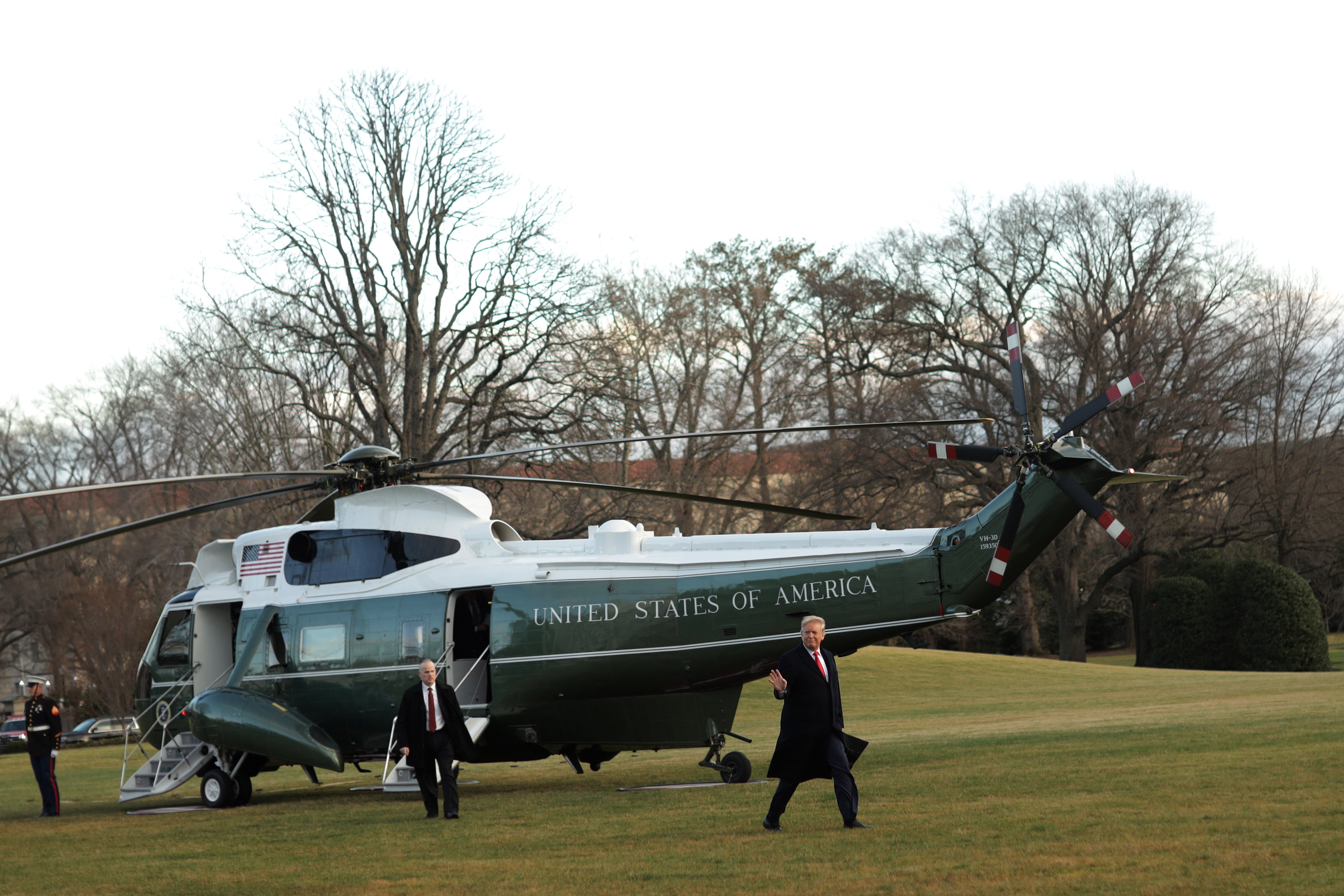 "WASHINGTON, DC - FEBRUARY 07: U.S. President Donald Trump waves as he walks on the South Lawn after he returned to the White House February 7, 2020 in Washington, DC. President Trump has returned from speaking at a ""North Carolina Opportunity Now"" summit in Charlotte, North Carolina. (Photo by Alex Wong/Getty Images)"