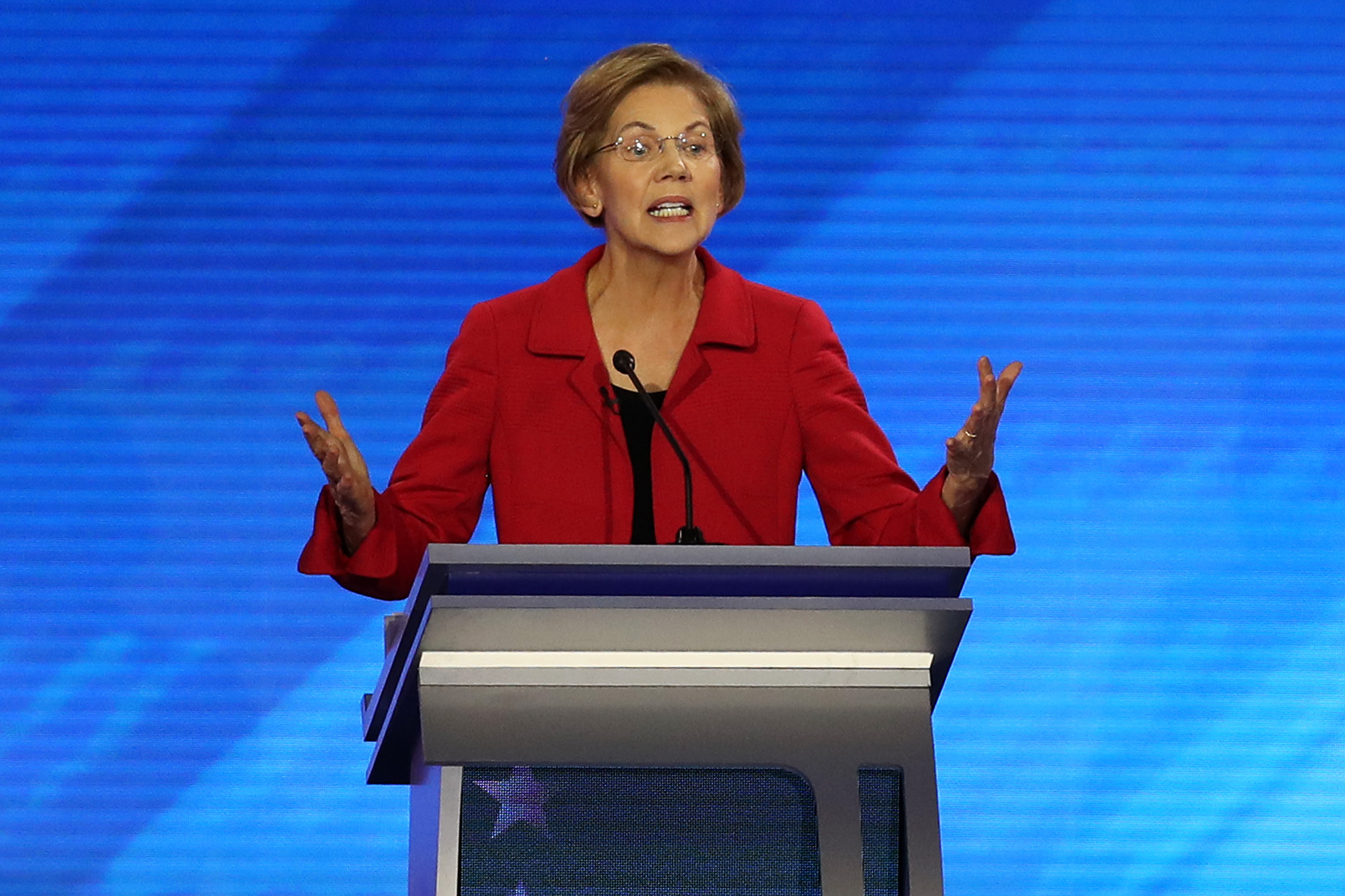 Democratic presidential candidate Sen. Elizabeth Warren participates in the Democratic presidential primary debate in the Sullivan Arena at St. Anselm College on February 07, 2020 in Manchester, New Hampshire. Seven candidates qualified for the second Democratic presidential primary debate of 2020 which comes just days before the New Hampshire primary on Feb. 11. (Photo by Joe Raedle/Getty Images)