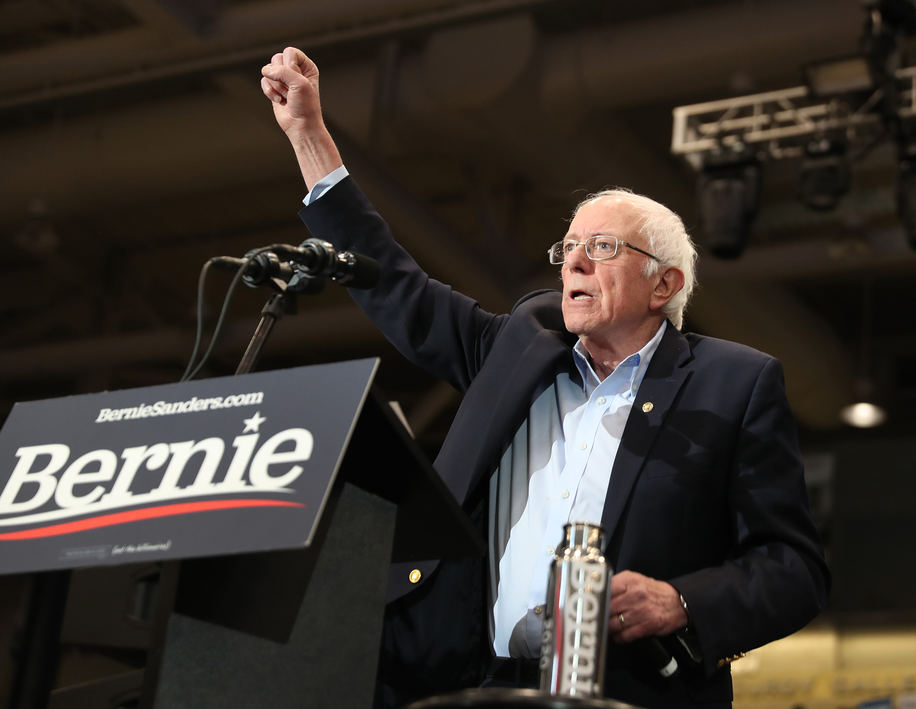 DURHAM, NEW HAMPSHIRE - FEBRUARY 10: Democratic presidential candidate Sen. Bernie Sanders (I-VT) speaks during a campaign event at the Whittemore Center Arena on February 10, 2020 in Durham, New Hampshire. The state's Democratic primary is tomorrow. (Photo by Joe Raedle/Getty Images)