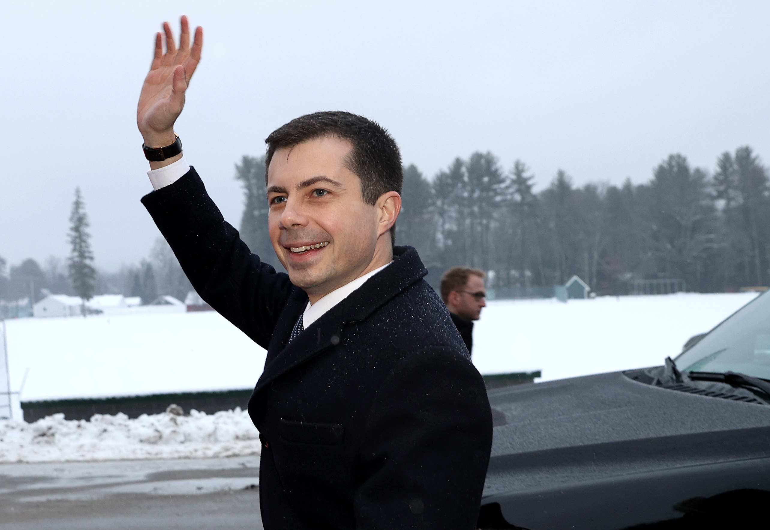 HOPKINTON, NEW HAMPSHIRE - FEBRUARY 11: Democratic presidential candidate former South Bend, Indiana Mayor Pete Buttigieg leaves a polling station after greeting supporters outside Hopkinton High School February 11, 2020 in Hopkinton, New Hampshire. New Hampshire holds its first in the nation primary today. (Photo by Win McNamee/Getty Images)