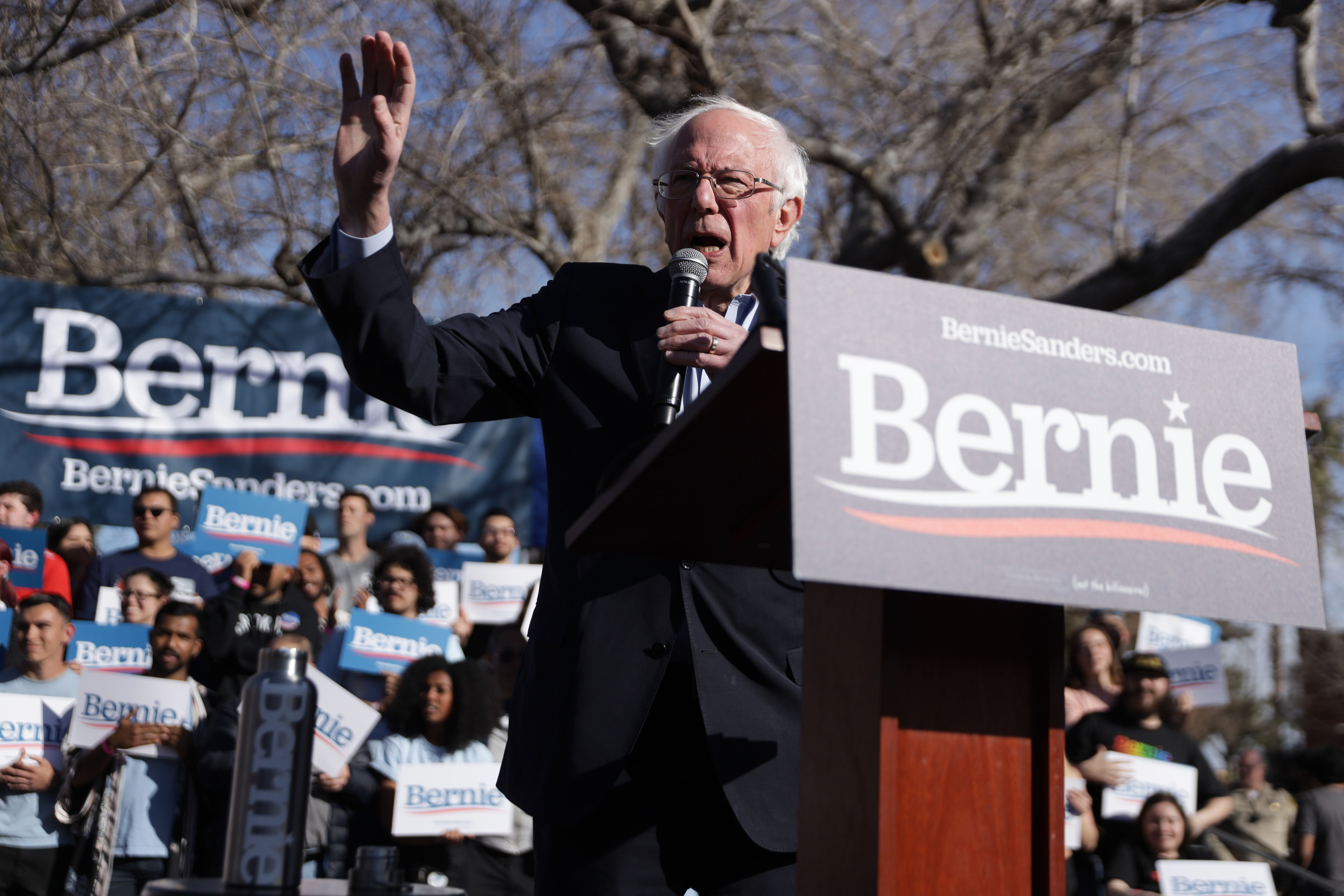 Democratic presidential candidate Sen. Bernie Sanders (I-VT) speaks during a campaign rally at University of Nevada February 18, 2020 in Las Vegas, Nevada. (Alex Wong/Getty Images)