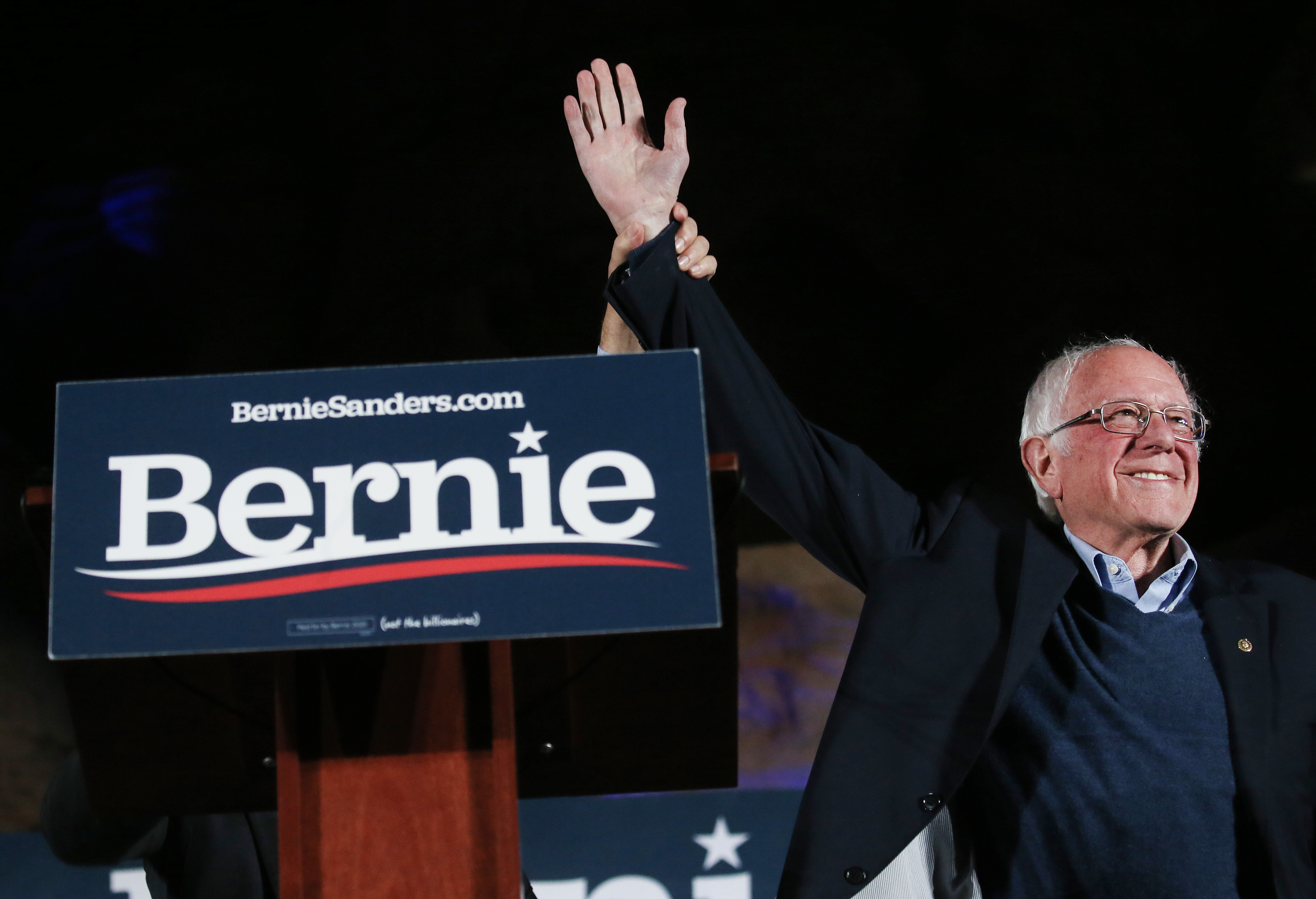 LAS VEGAS, NEVADA - FEBRUARY 21: Democratic presidential candidate Sen. Bernie Sanders (I-VT) waves to supporters at a campaign rally on February 21, 2020 in Las Vegas, Nevada. The upcoming Nevada Democratic presidential caucus will be held February 22. (Photo by Mario Tama/Getty Images)