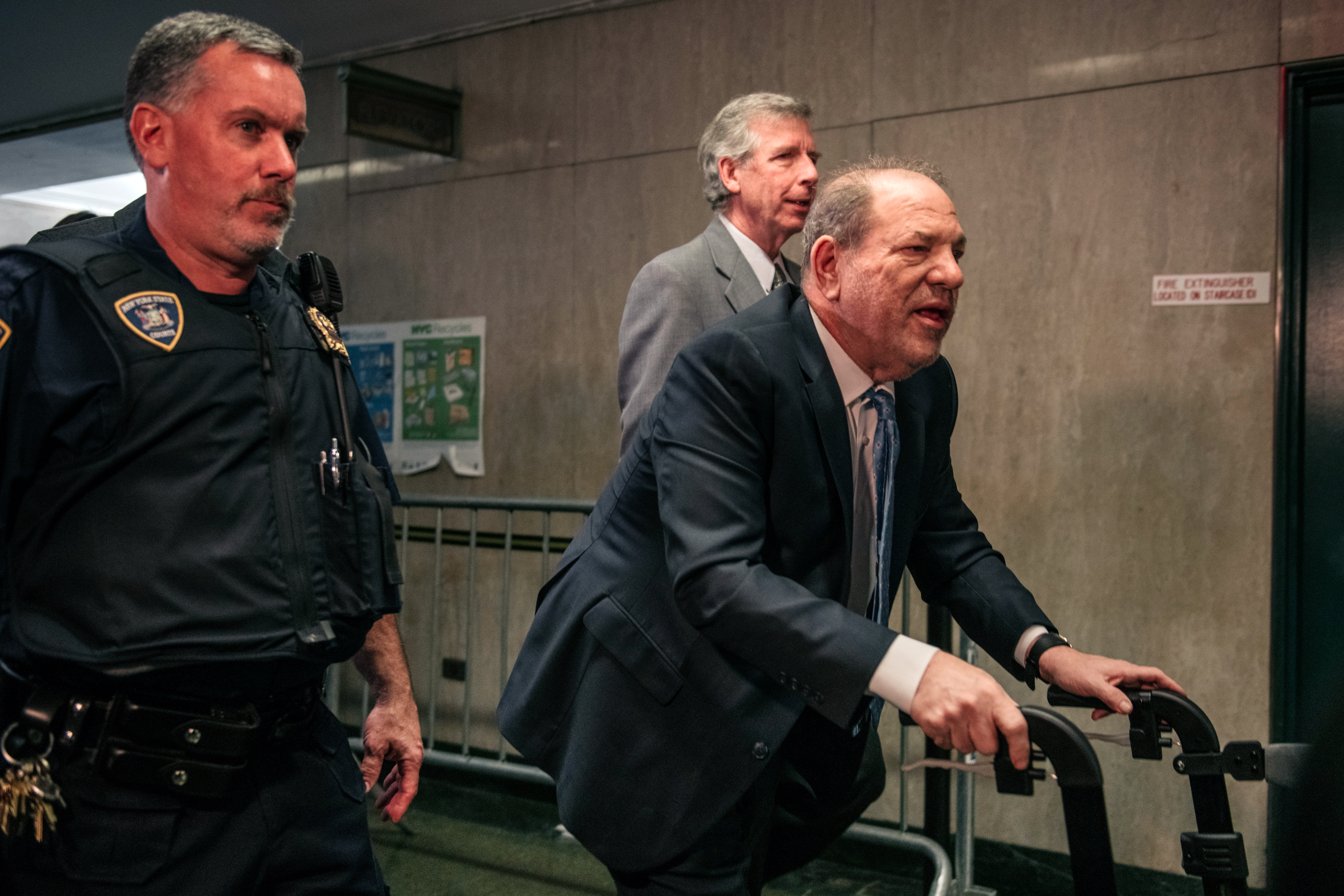 Movie producer Harvey Weinstein (R) enters New York City Criminal Court on February 24, 2020 in New York City. Jury deliberations in the high-profile trial are believed to be nearing a close, with a verdict on Weinstein's numerous rape and sexual misconduct charges expected in the coming days. (Photo by Scott Heins/Getty Images)
