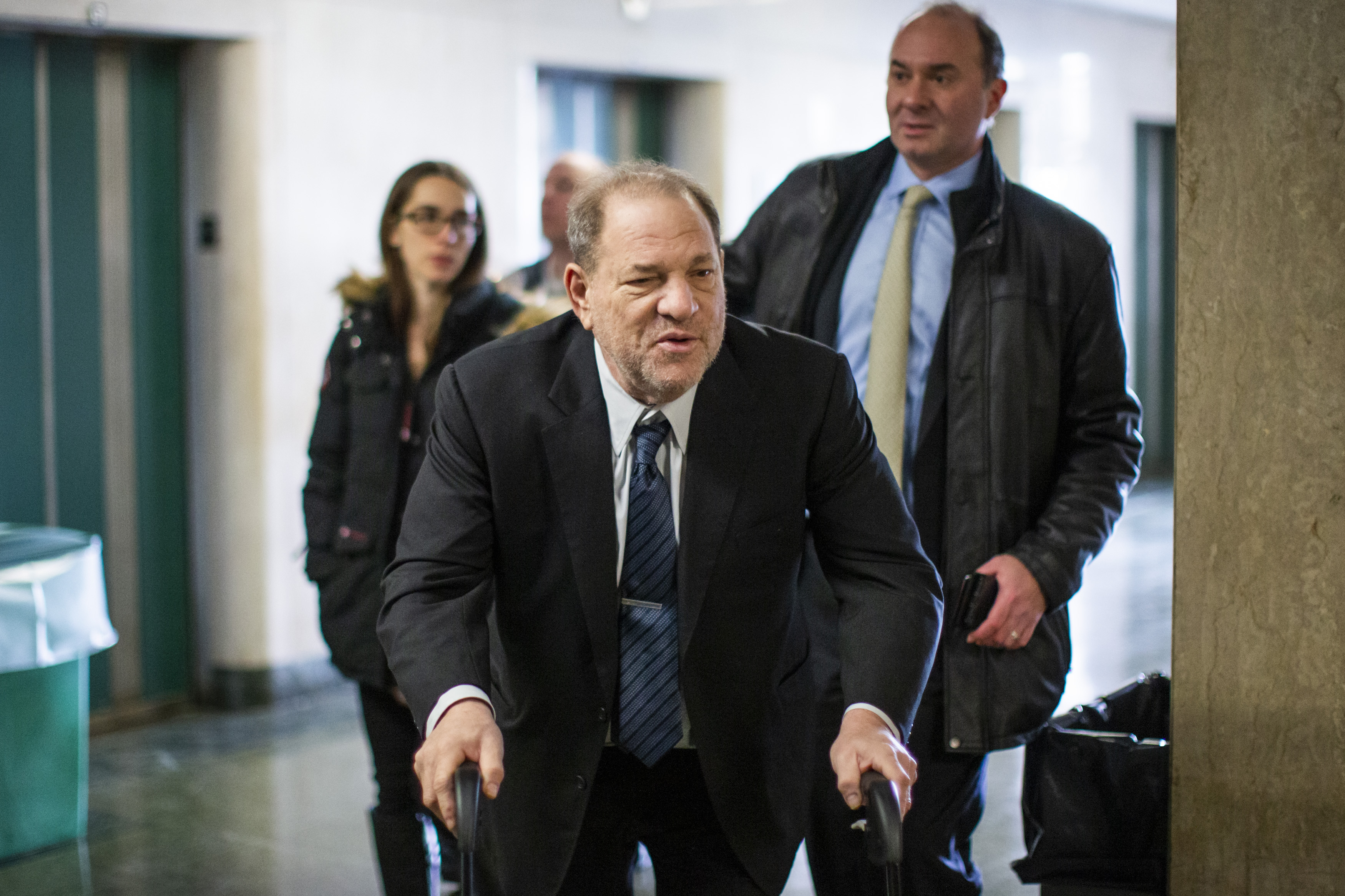 Film producer Harvey Weinstein arrives at the courtroom for his sexual assault trial at Manhattan criminal court on February 3, 2020 in New York City. Weinstein, a movie producer whose alleged sexual misconduct helped spark the #MeToo movement, pleaded not guilty on five counts of rape and sexual assault against two unnamed women and faces a possible life sentence in prison. (Photo by Eduardo Munoz Alvarez/Getty Images)