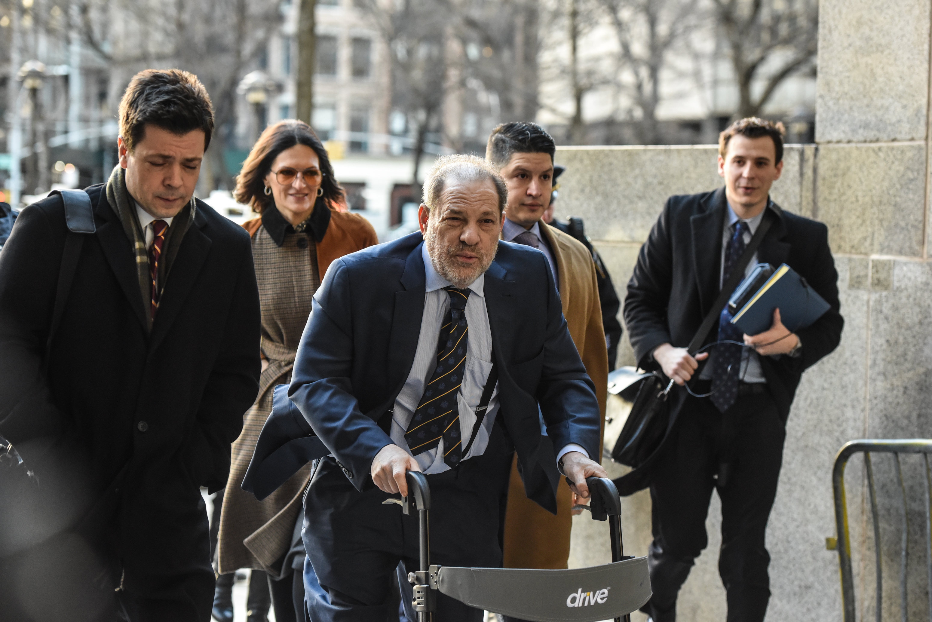 Movie producer Harvey Weinstein arrives for his sexual assault trial at New York Criminal Court on February 14, 2020 in New York City. The weeks-long trial against Weinstein nears the end with the prosecution making closing arguments in today's trial. (Photo by Stephanie Keith/Getty Images)