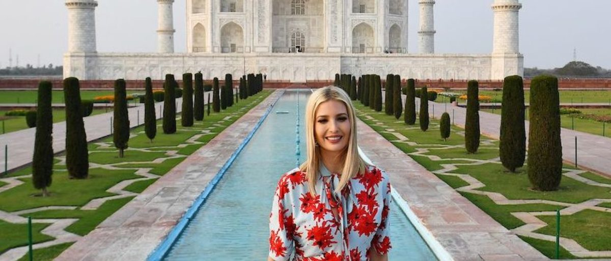 Ivanka Turns Heads In Beautiful Blue And Red Floral Dress