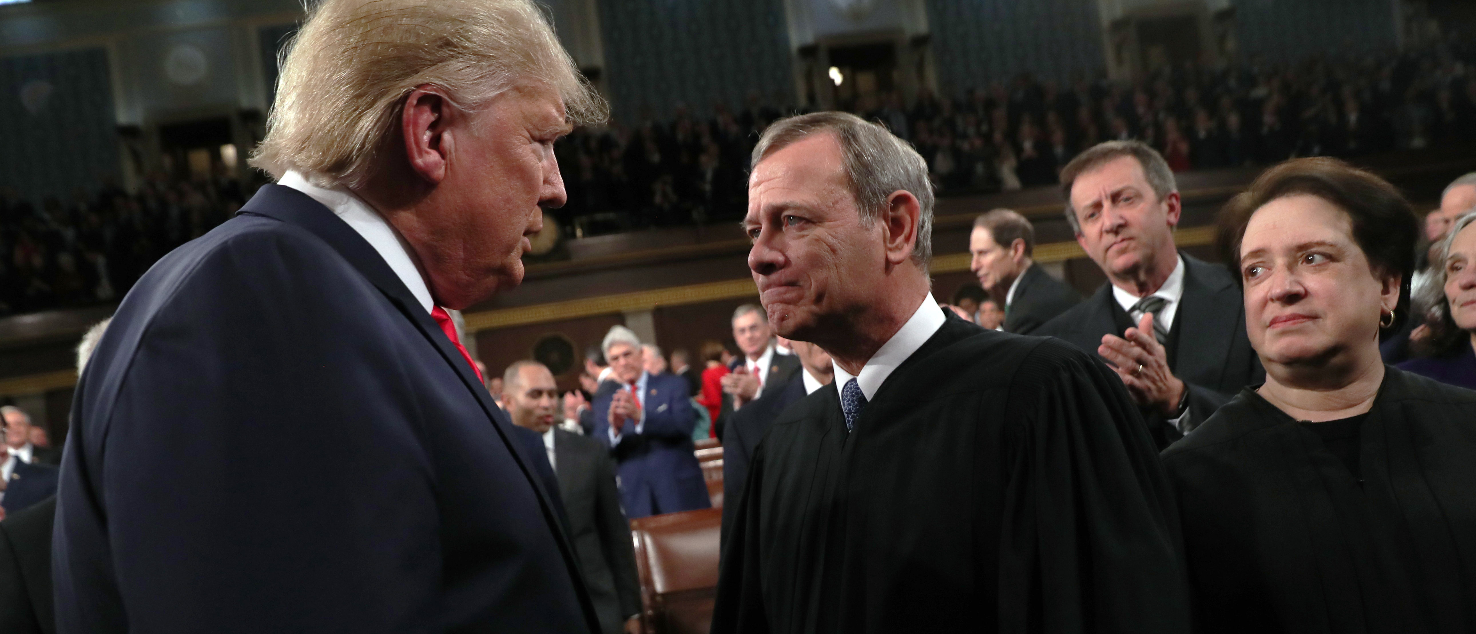 President Donald Trump and Chief Justice John Roberts at the State of the Union on February 4, 2020. (Leah Millis/Pool/Getty Images)