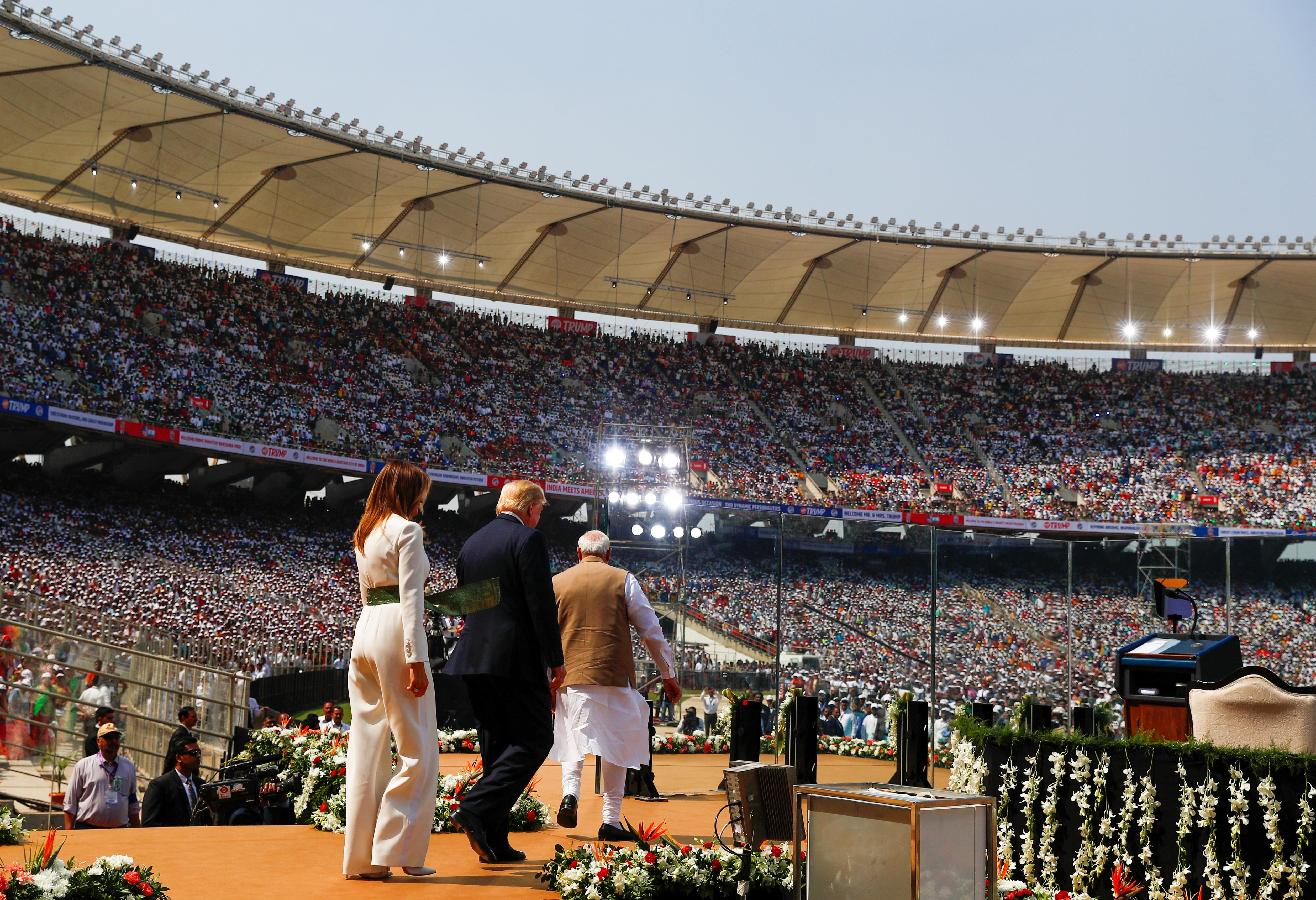 "U.S. President Donald Trump, first lady Melania Trump and Indian Prime Minister Narendra Modi attend a ""Namaste Trump"" event during Trump's visit to India, at Sardar Patel Gujarat Stadium, in Ahmedabad, India, February 24, 2020. (REUTERS/Al Drago)"