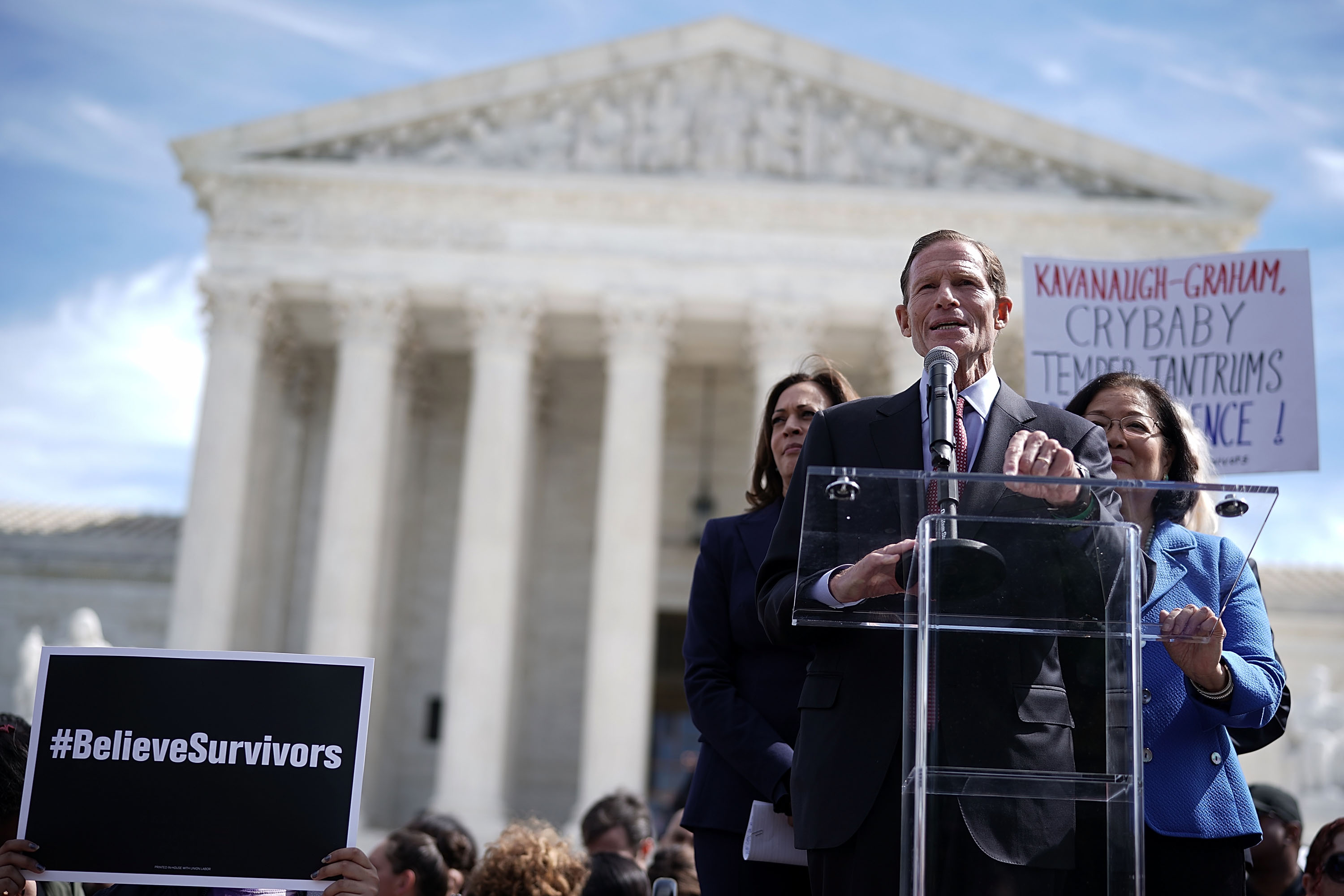 Sen. Richard Blumenthal (D-CT) speaks at a rally opposing Brett Kavanaugh's confirmation to the Supreme Court on September 28, 2018. (Alex Wong/Getty Images)