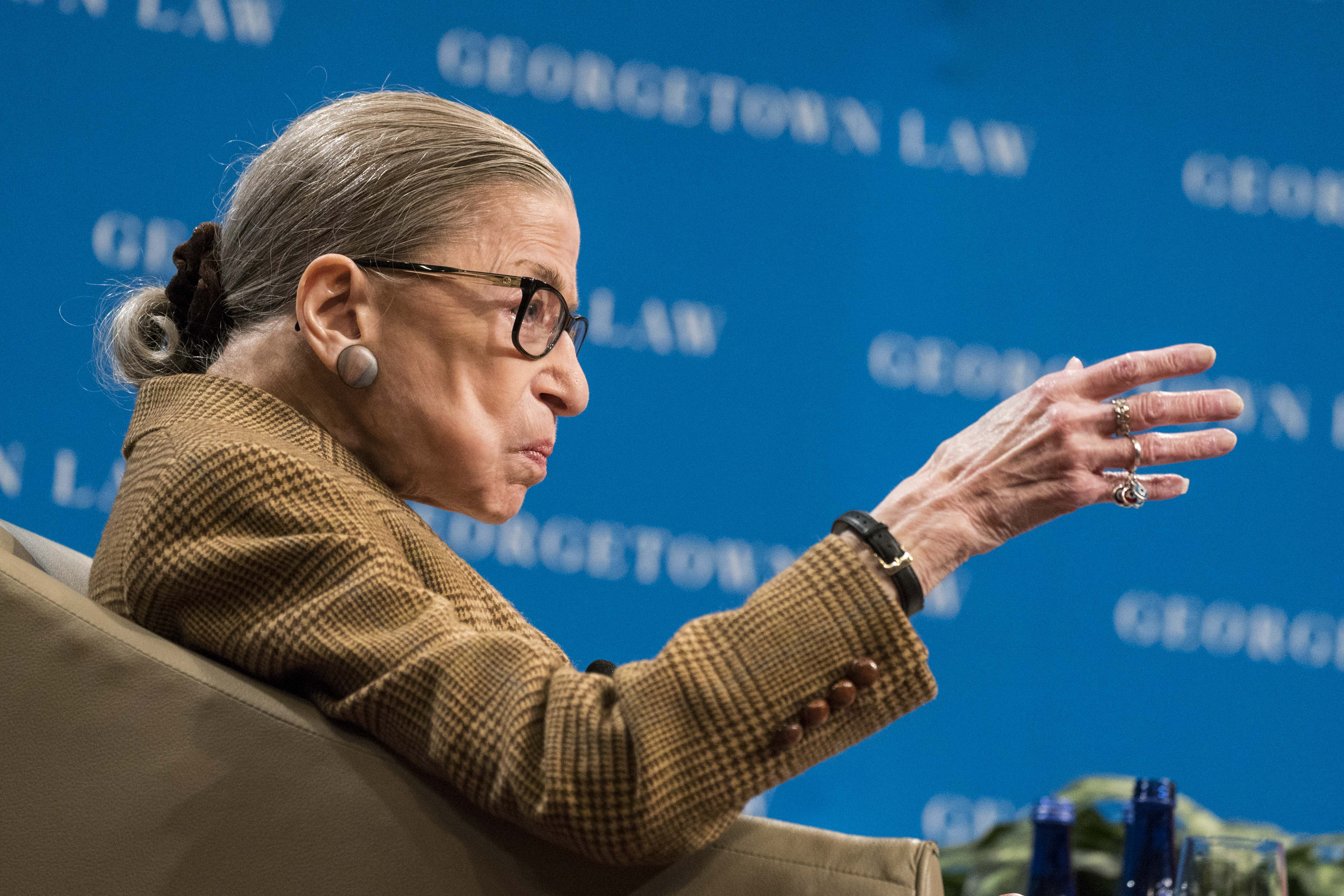 Justice Ruth Bader Ginsburg at the Georgetown University Law Center on February 10, 2020. (Sarah Silbiger/Getty Images)