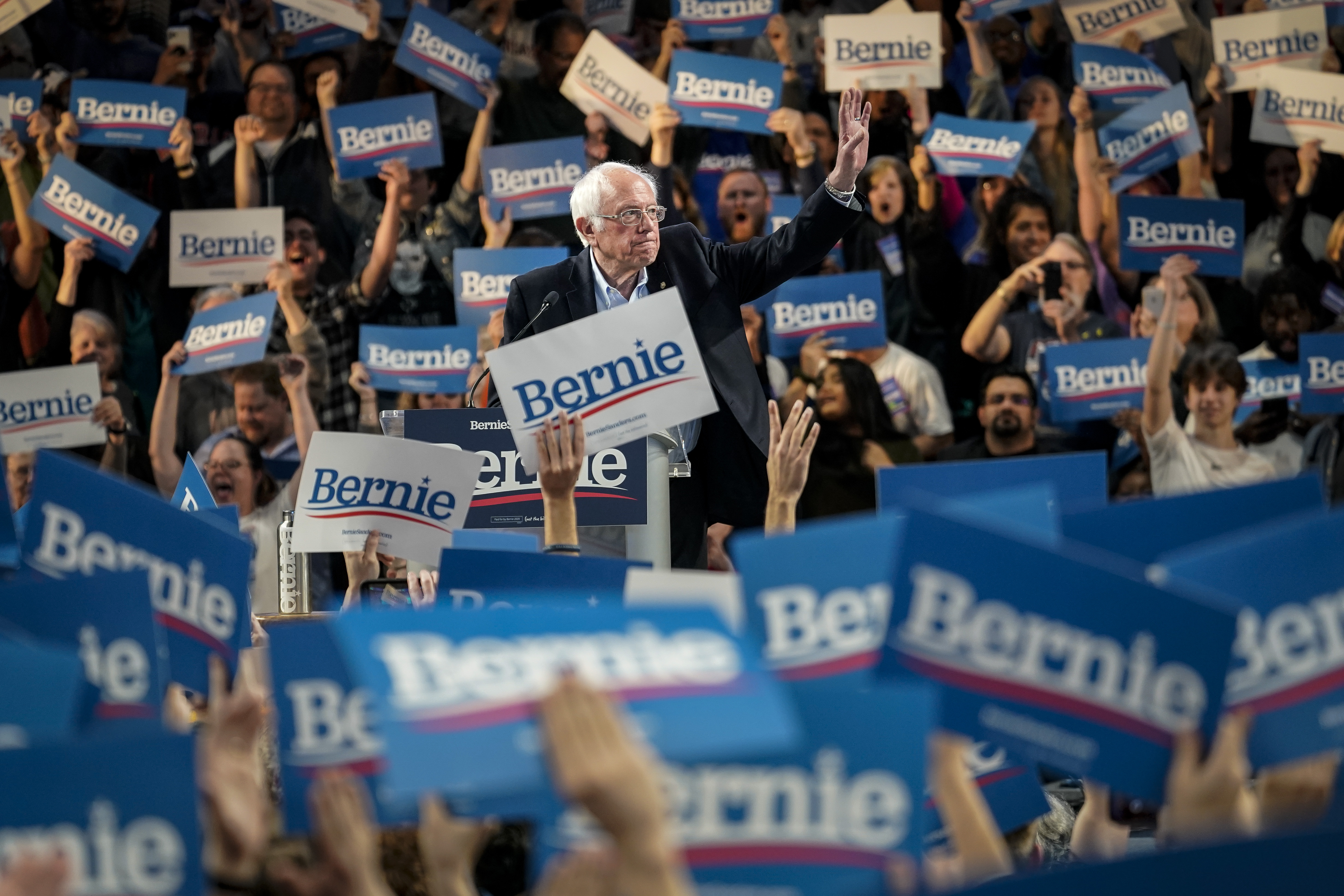 Democratic presidential candidate Sen. Bernie Sanders (I-VT) waves to the crowd during a campaign rally at the University of Houston on February 23, 2020 in Houston, Texas. (Drew Angerer/Getty Images)