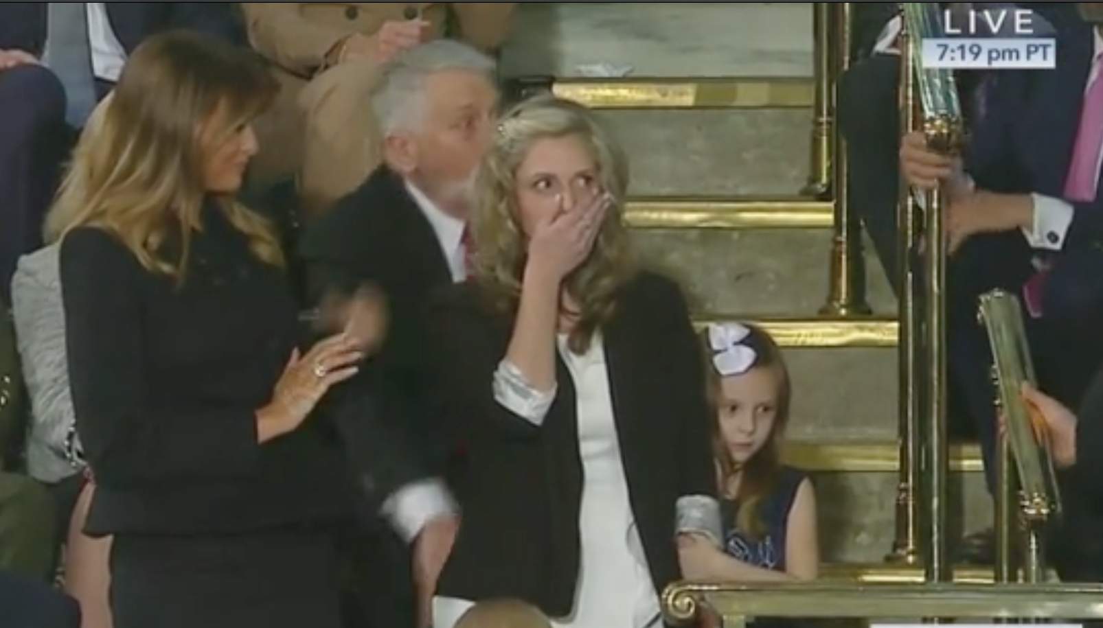 First Lady Melania Trump attends the SOTU with Army wife Amy Williams. Screen Shot/C-Span