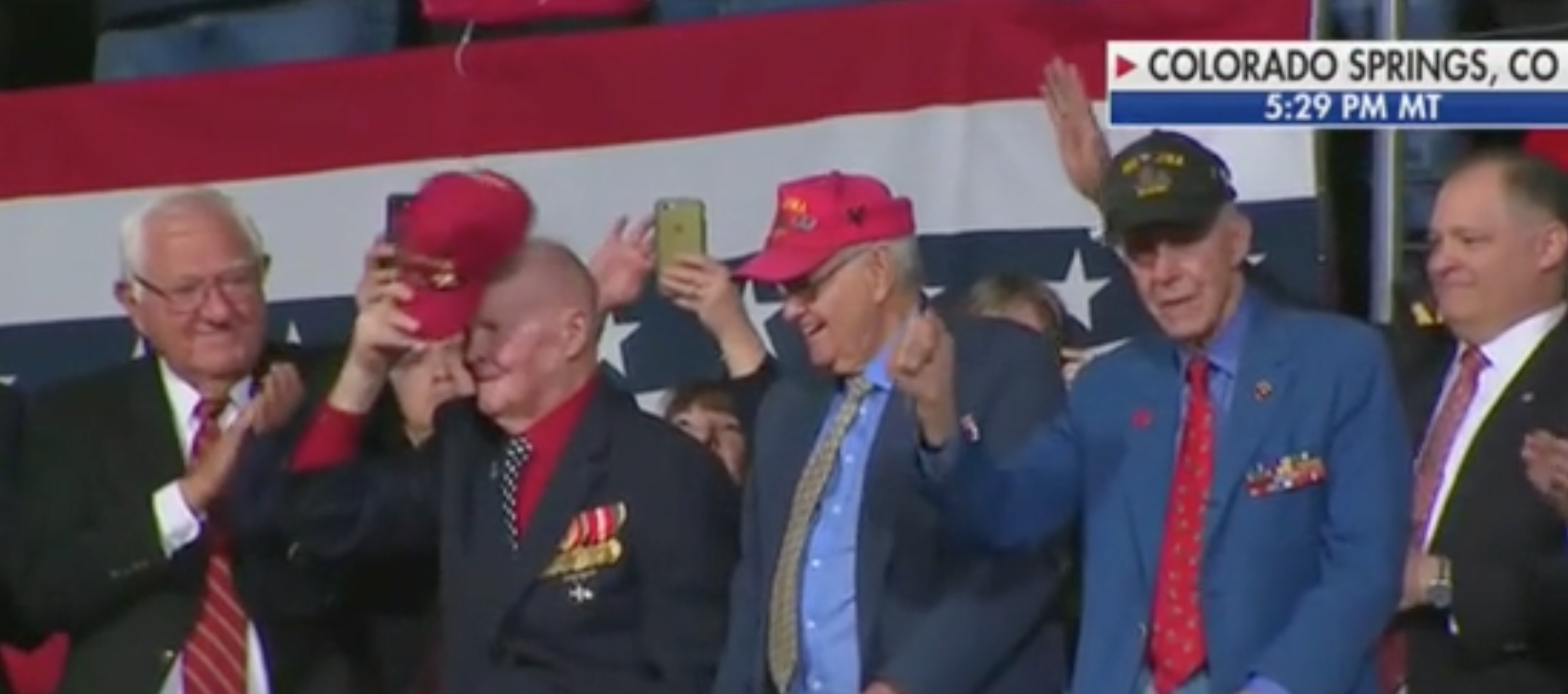 Iwo Jima veterans stand at Trump rally in Colorado. Screen Shot/Fox News