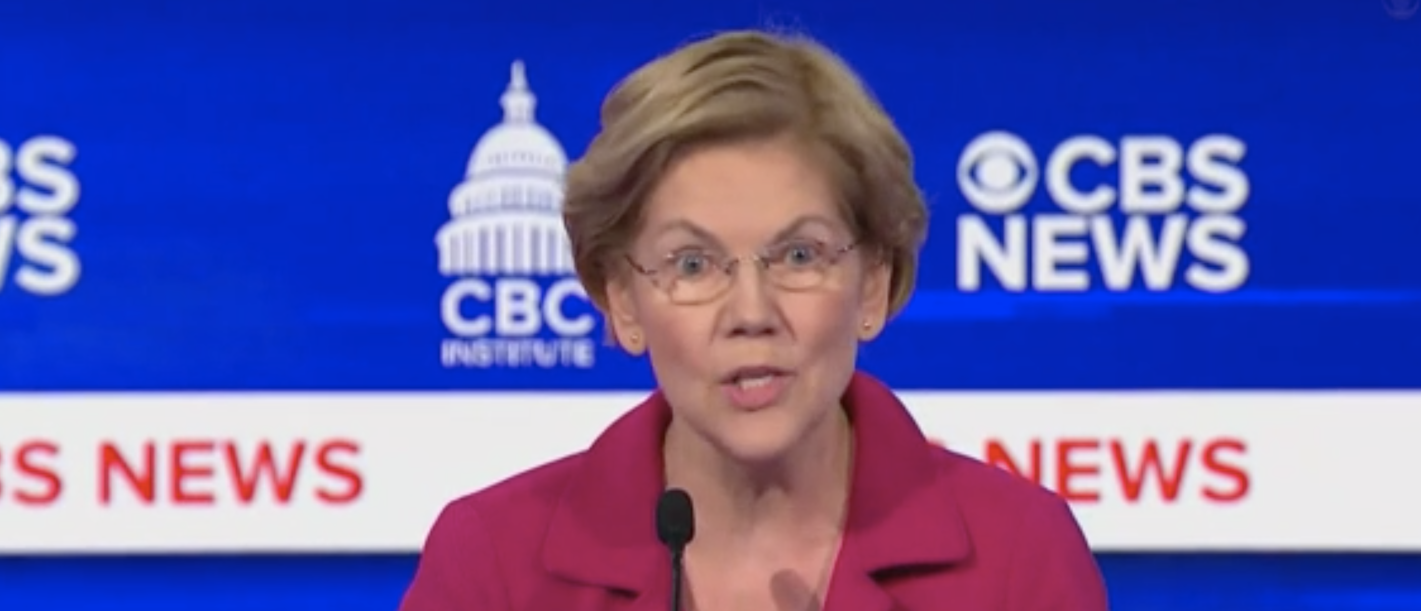 Elizabeth Warren continued to tell her story about allegedly being fired from a job because she was pregnant during Tuesday's Democratic debate. (Screenshot CBS News)