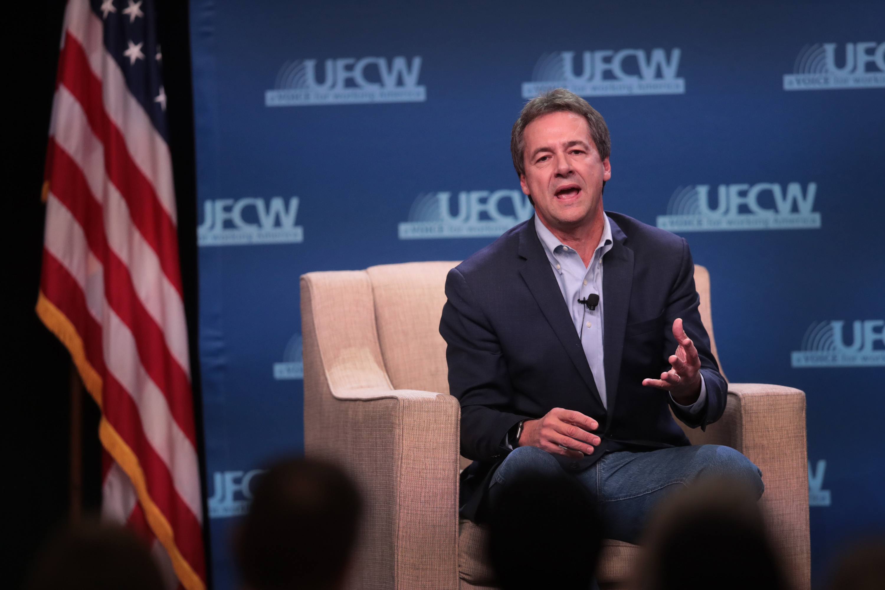 ALTOONA, IOWA - OCTOBER 13: Democratic presidential candidate Montana governor Steve Bullock speaks to guests at the United Food and Commercial Workers' (UFCW) 2020 presidential candidate forum on October 13, 2019 in Altoona, Iowa. (Scott Olson/Getty Images)