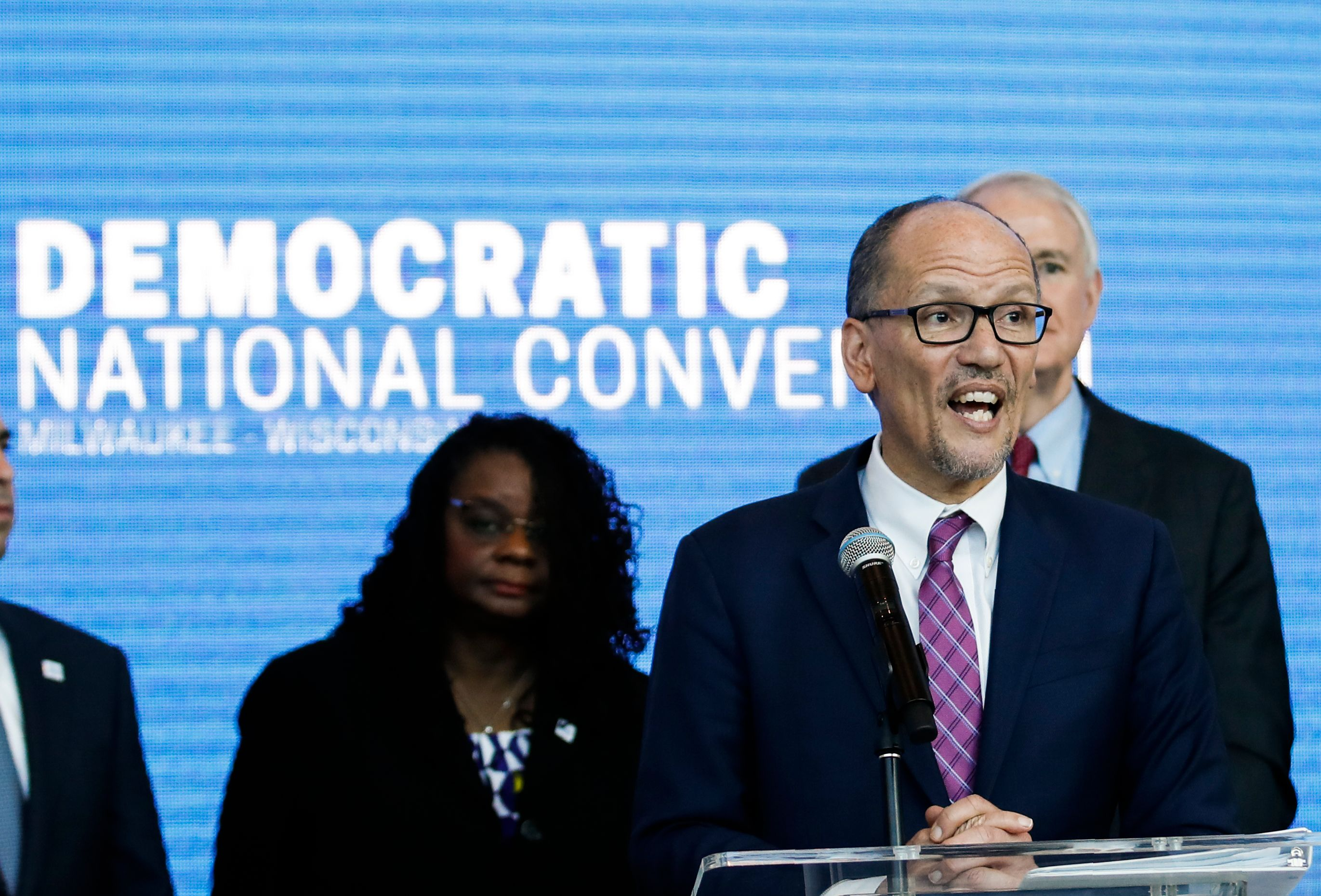Chair of the Democratic National Committee Tom Perez speaks during a press conference at the Fiserv Forum in Milwaukee, Wisconsin on March 11, 2019, to announce the selection of Milwaukee as the 2020 Democratic National Convention host city. (KAMIL KRZACZYNSKI/AFP via Getty Images)