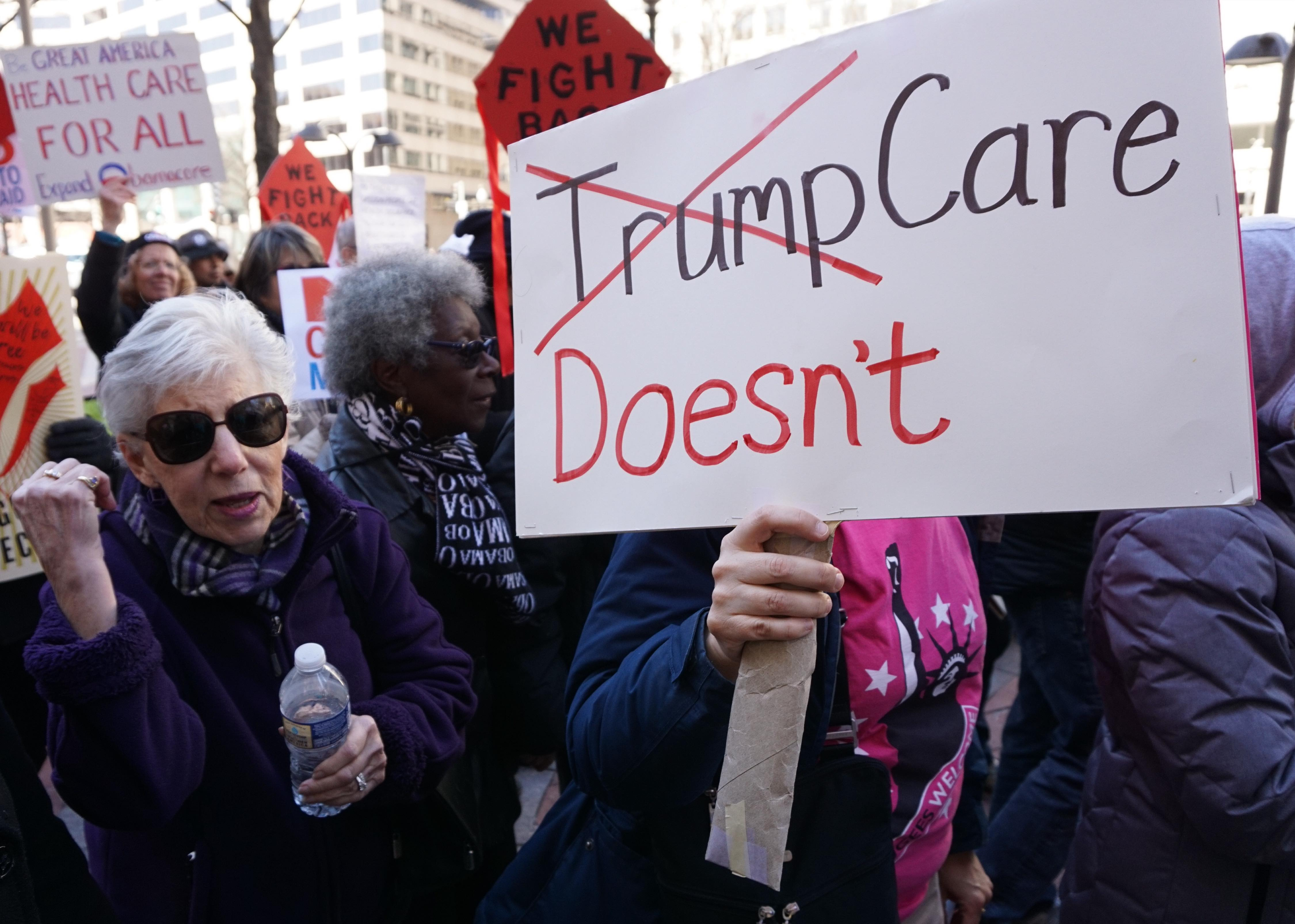 Supporters of the Affordable Care Act demonstrate in Washington, D.C. on March 23, 2017. (Mandel Ngan/AFP/Getty Images)