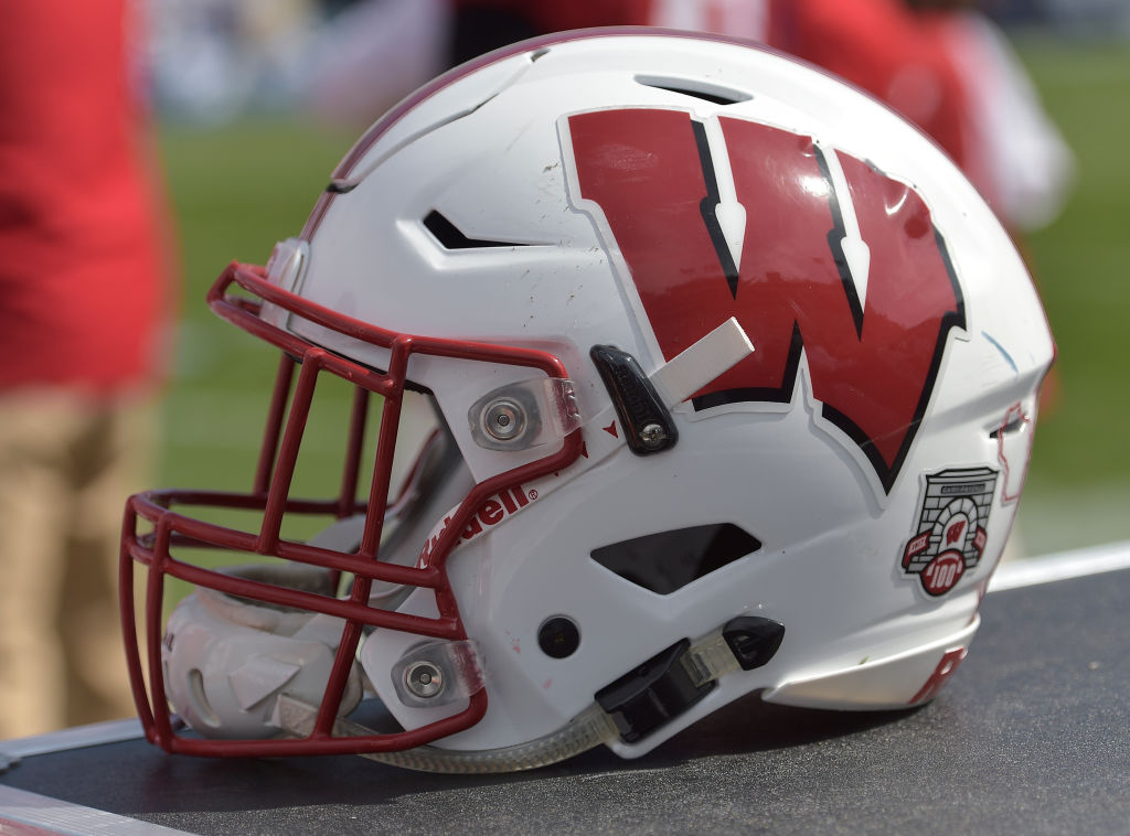 PROVO, UT - SEPTEMBER 16: Wisconsin Badgers football helmet during the game between the Badgers and the BYU Cougars at LaVell Edwards Stadium on September 16, 2017 in Provo, Utah. (Photo by Gene Sweeney Jr/Getty Images)