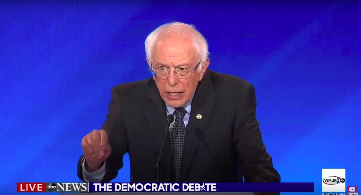 Bernie Sanders at the ABC News debate. (Screenshot/ABC/Youtube)